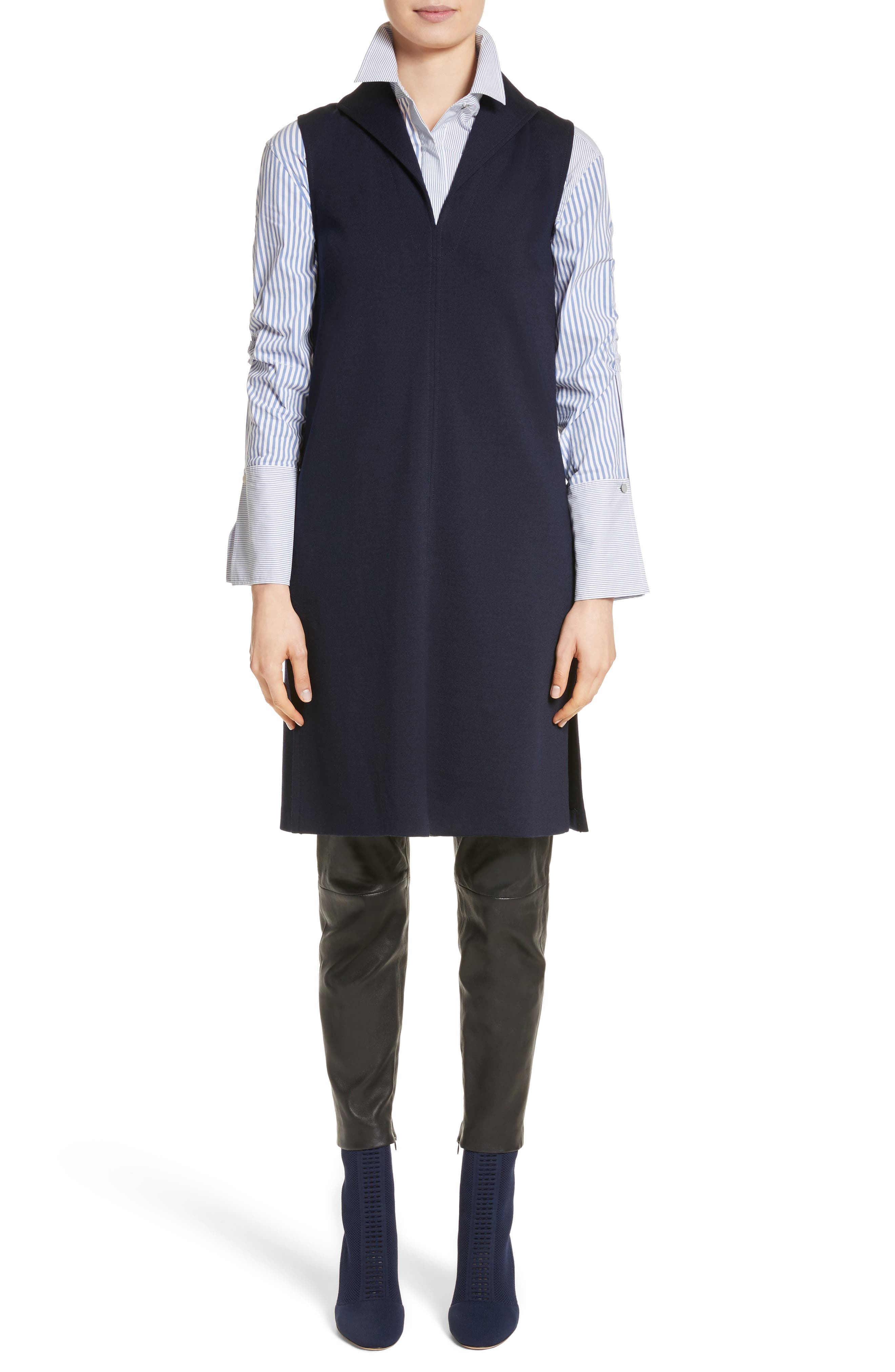 St John Collection Milano Knit Collared Tunic,                             Alternate thumbnail 8, color,                             Navy
