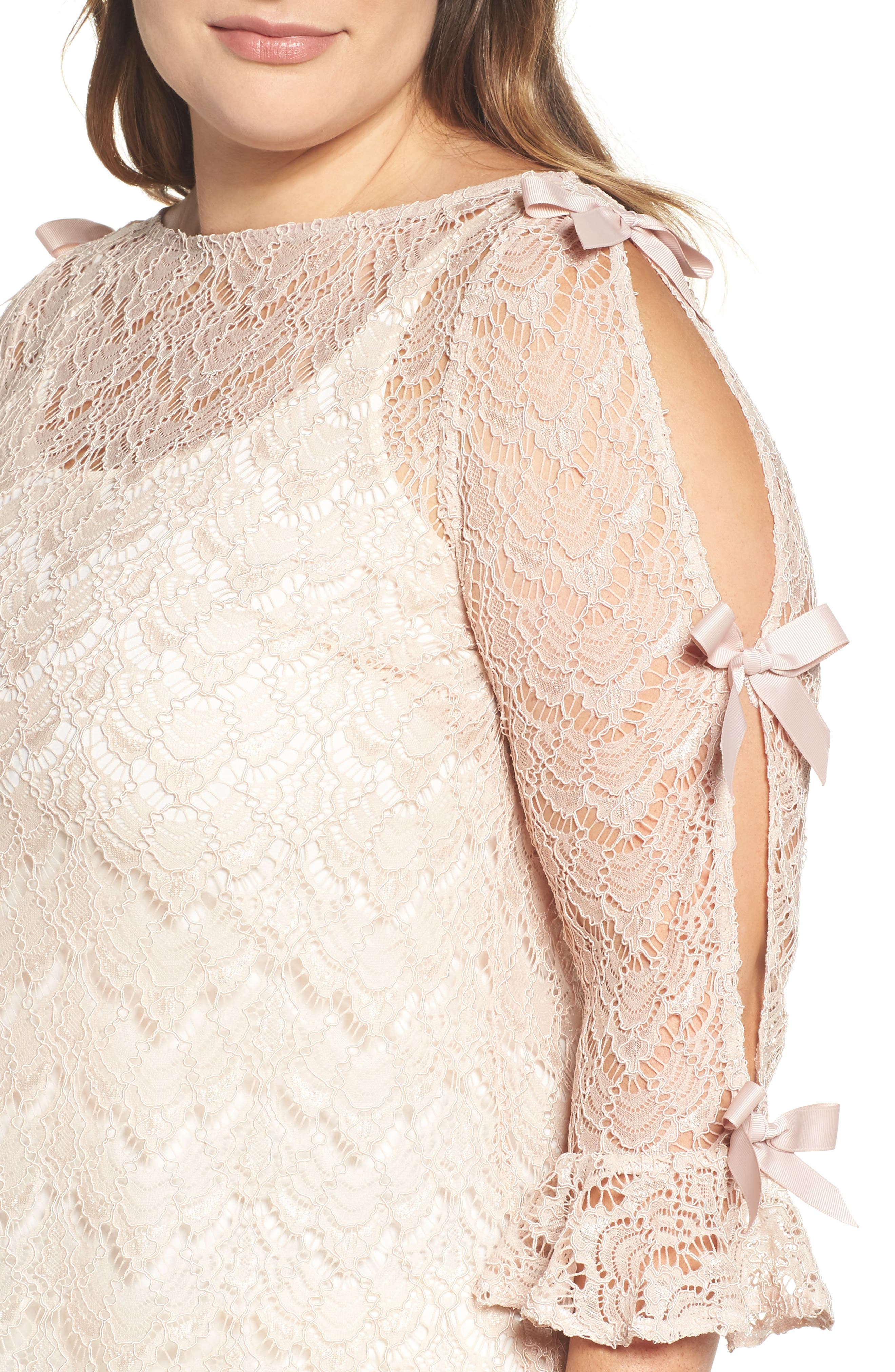 Bow Sleeve Lace Top,                             Alternate thumbnail 4, color,                             Nude
