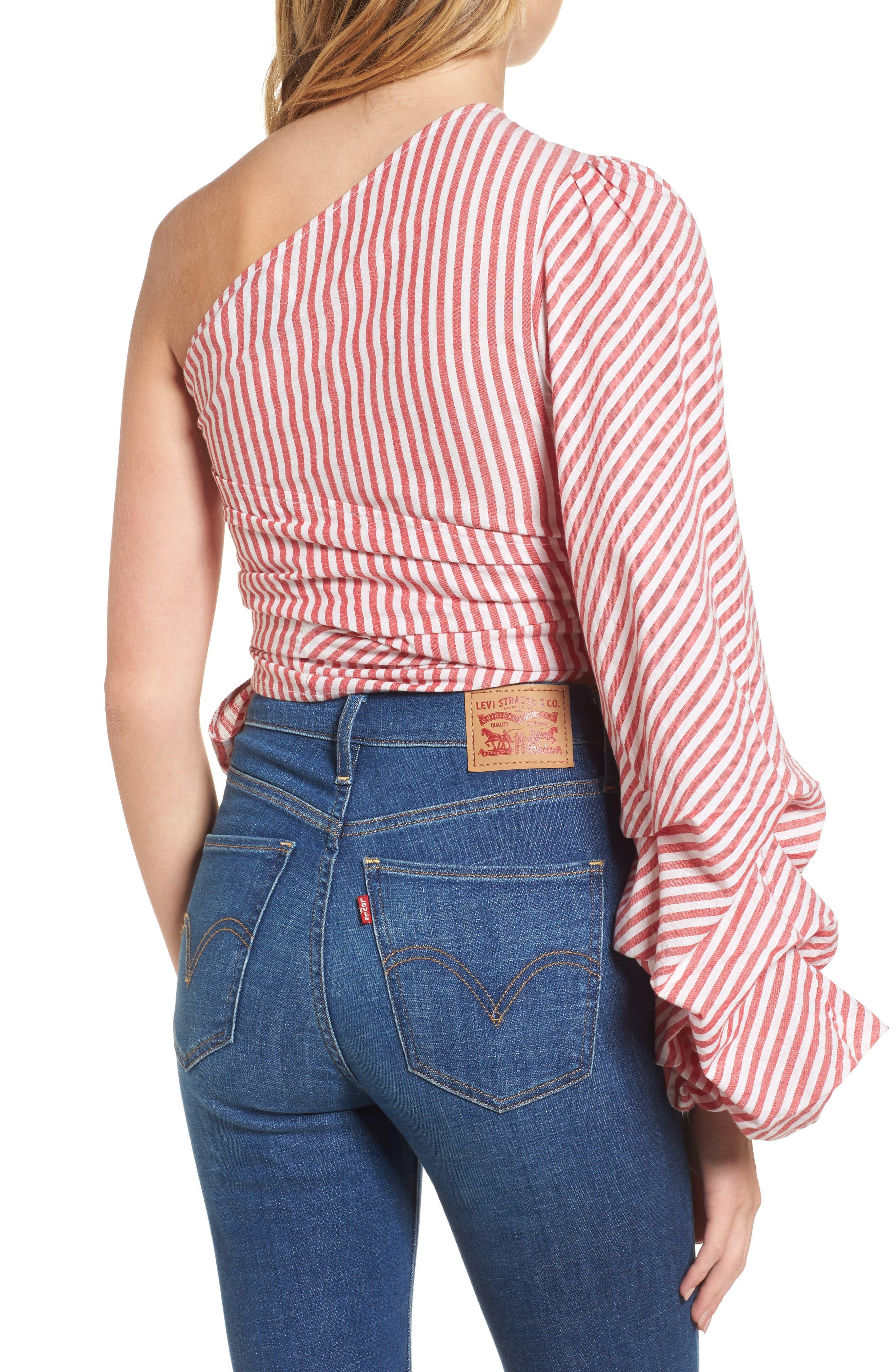 L'Academie Reckless One-Shoulder Wrap Blouse,                             Alternate thumbnail 2, color,                             Red/ White Stripe