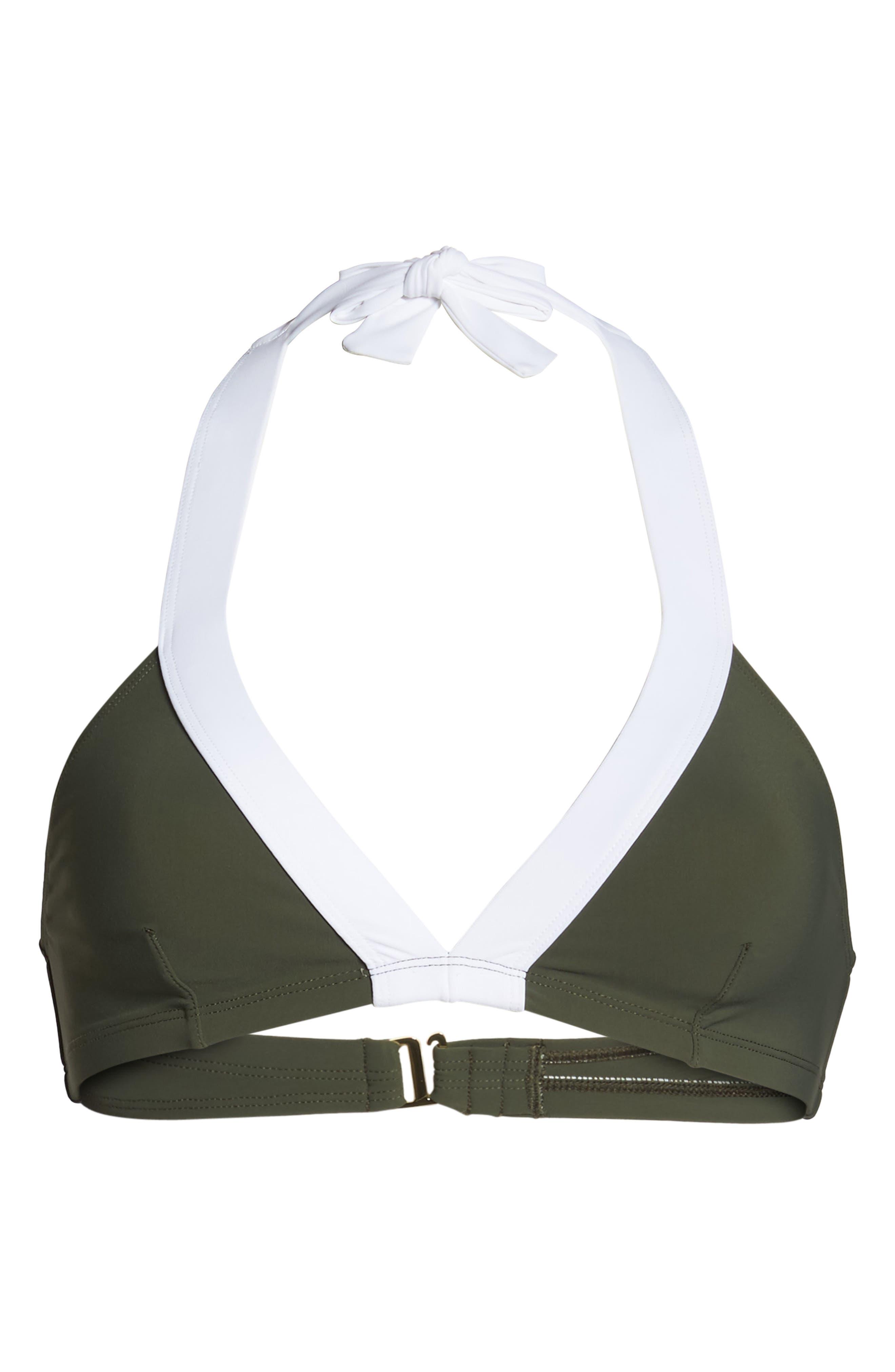 Banded Halter Bikini Top,                             Alternate thumbnail 6, color,                             Camo/ White