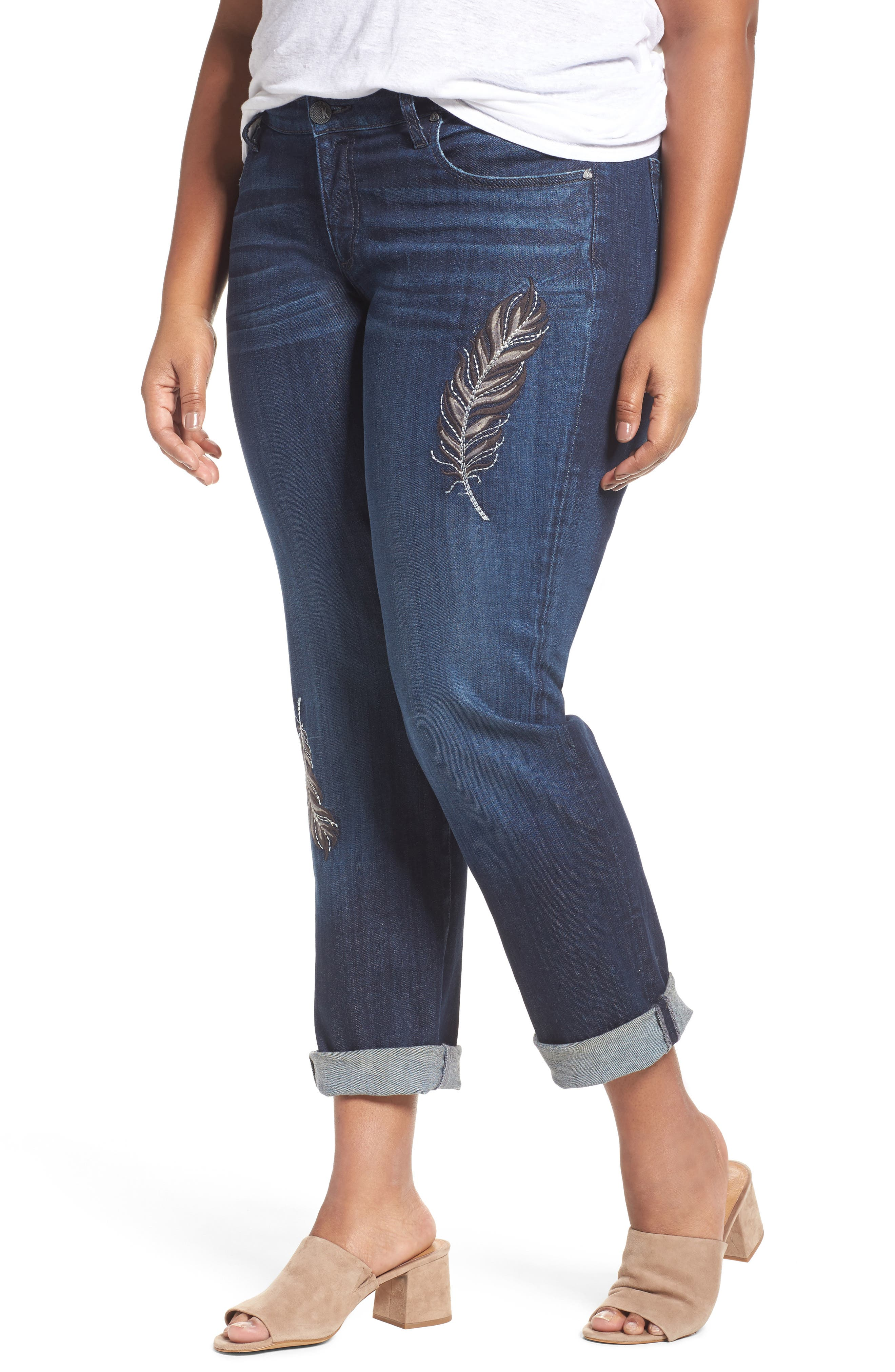 Alternate Image 1 Selected - KUT from The Kloth Catherine Boyfriend Jeans (Overt Dark Stone Base Wash) (Plus Size)