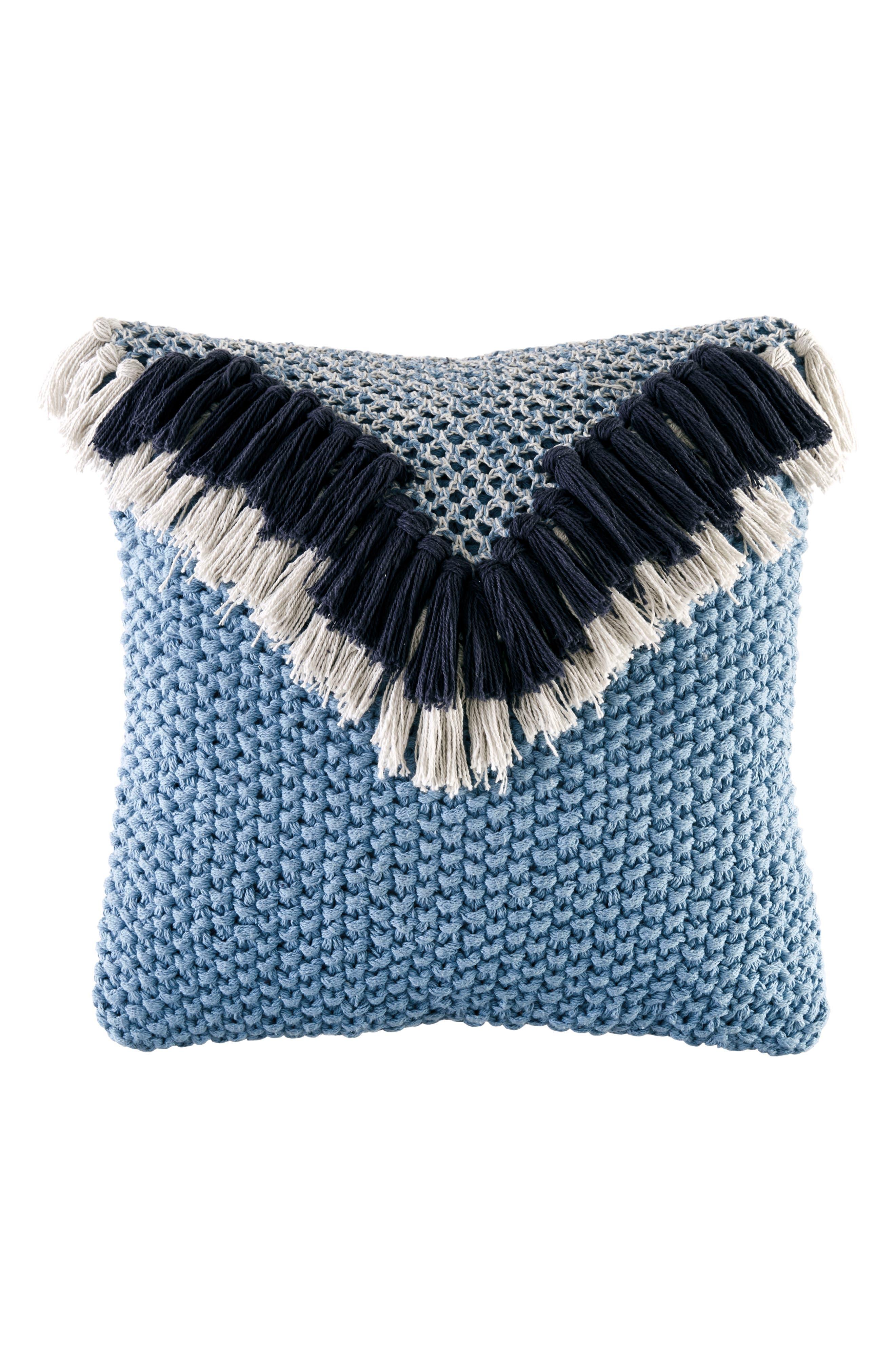Main Image - BCBGeneration Fringe Knit Accent Pillow