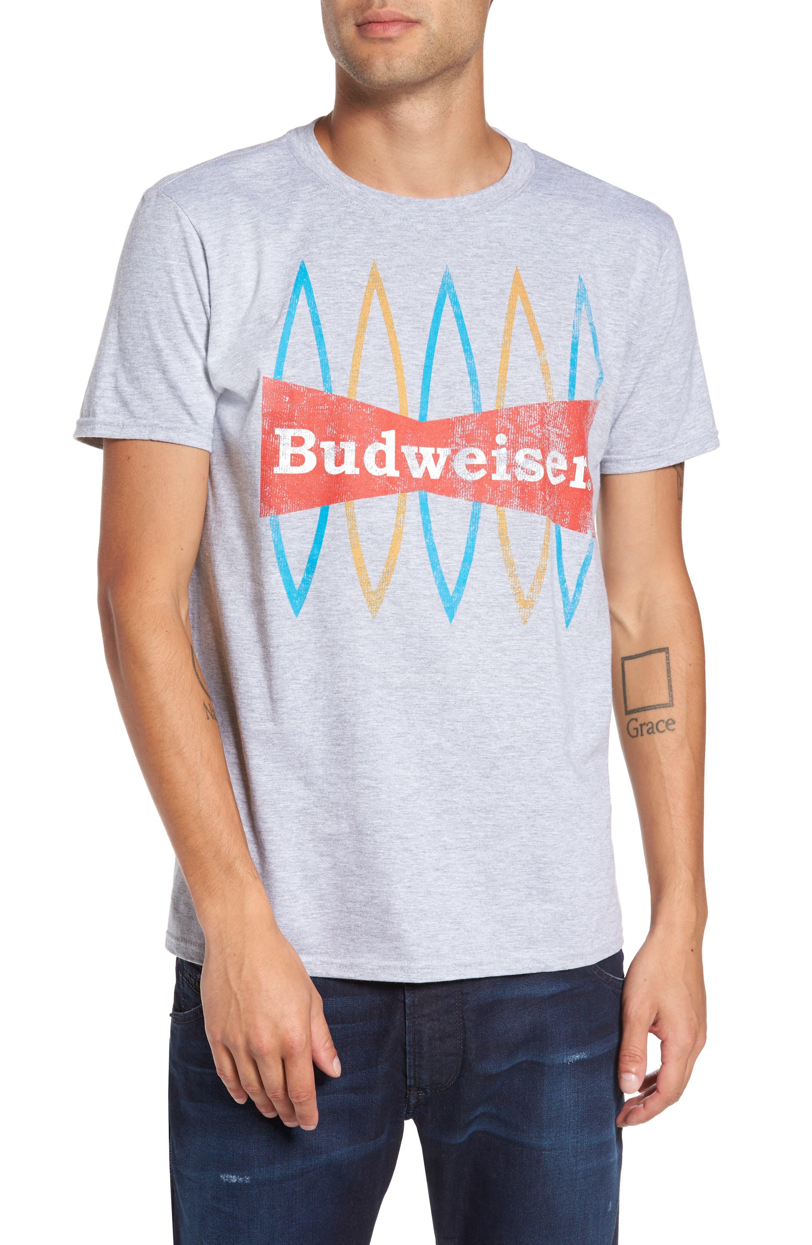 Budweiser<sup>®</sup> T-Shirt,                             Main thumbnail 1, color,                             Grey Bud Surfboards
