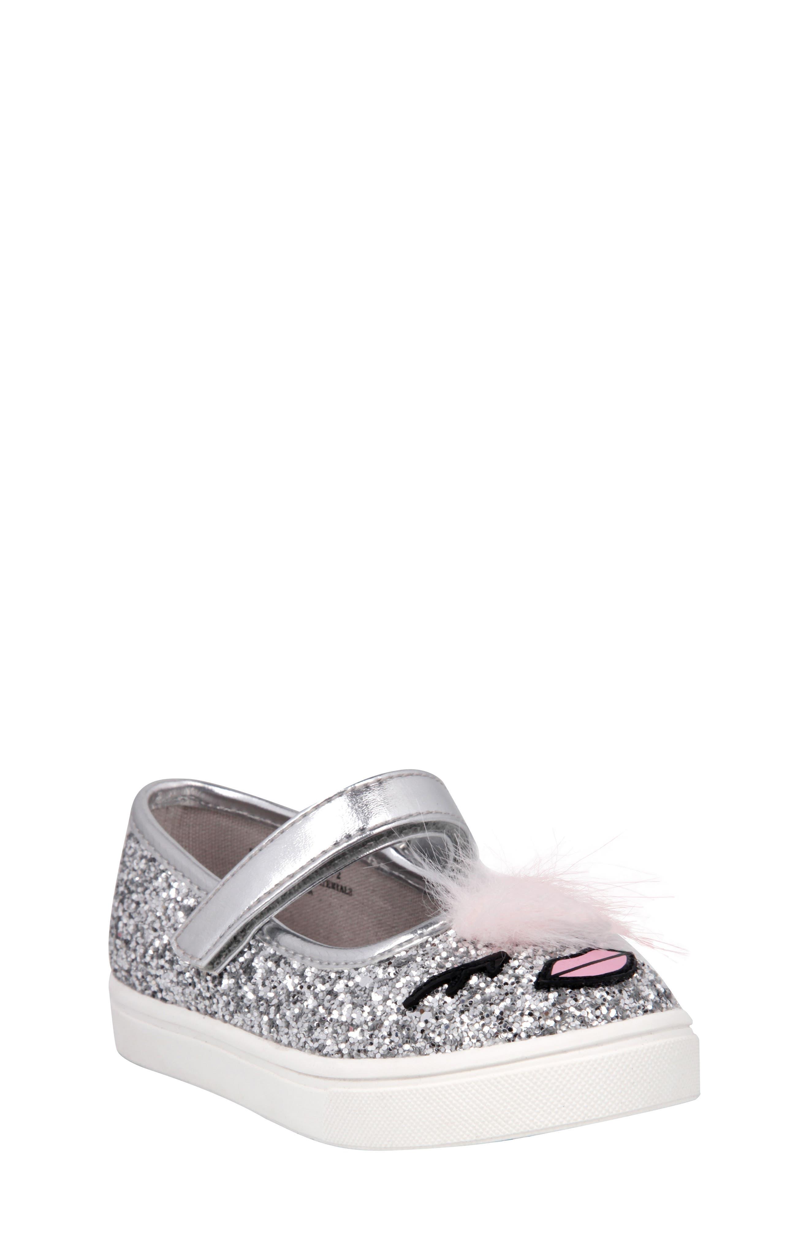 Ragina Faux Fur Glitter Mary Jane Sneaker,                             Main thumbnail 1, color,                             Silver Chunky Glitter