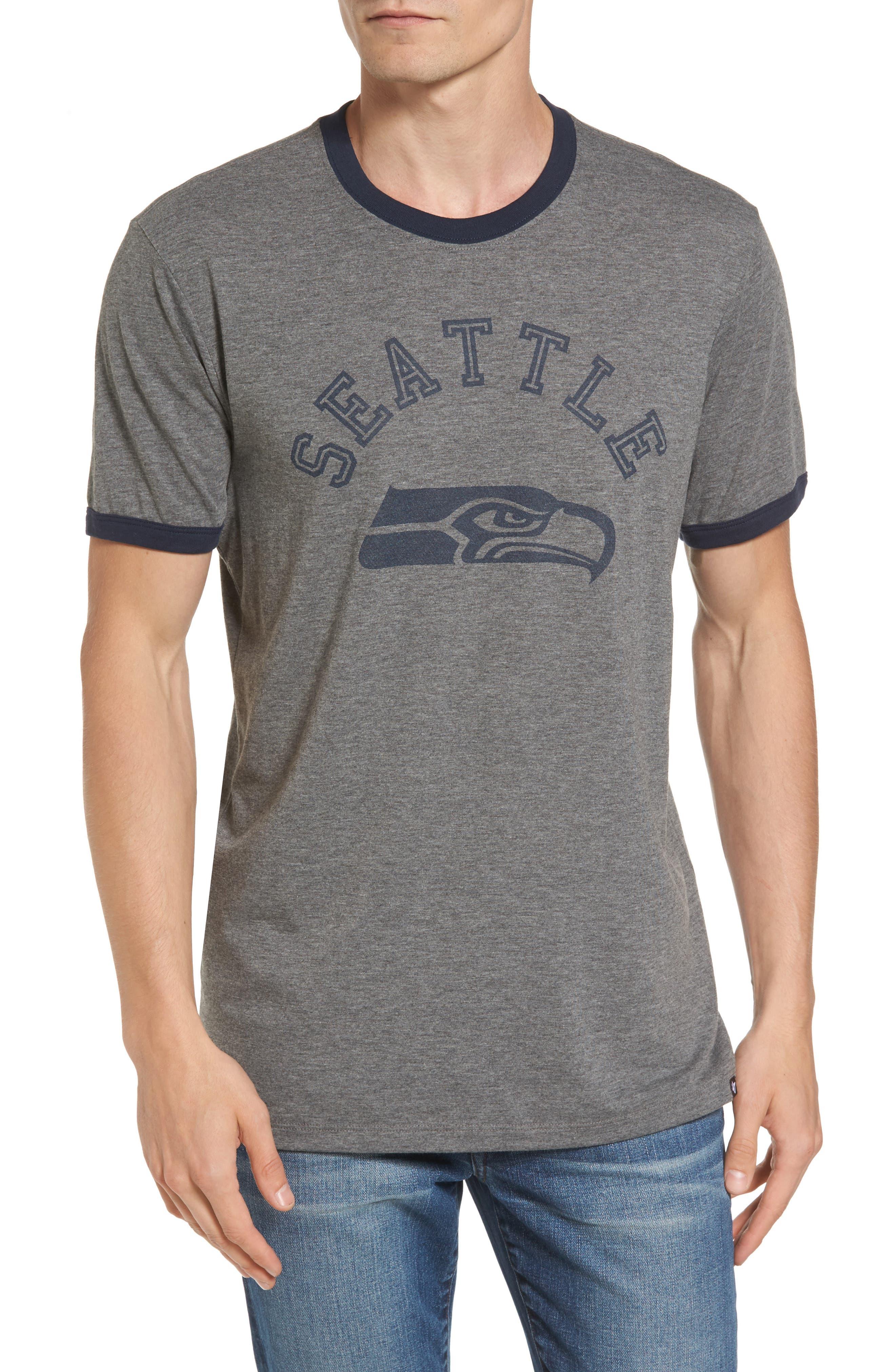 Seattle Seahawks Ringer T-Shirt,                         Main,                         color, Grey