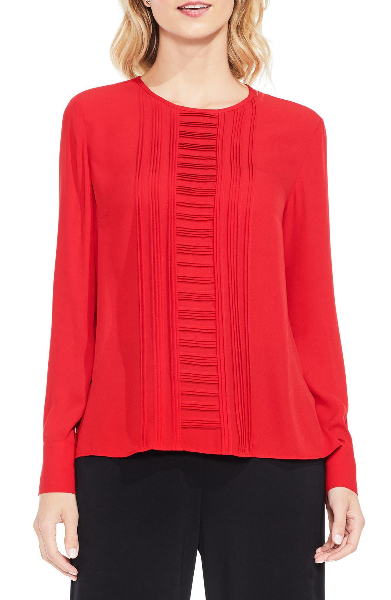 Pintuck Blouse,                         Main,                         color, True Crimson