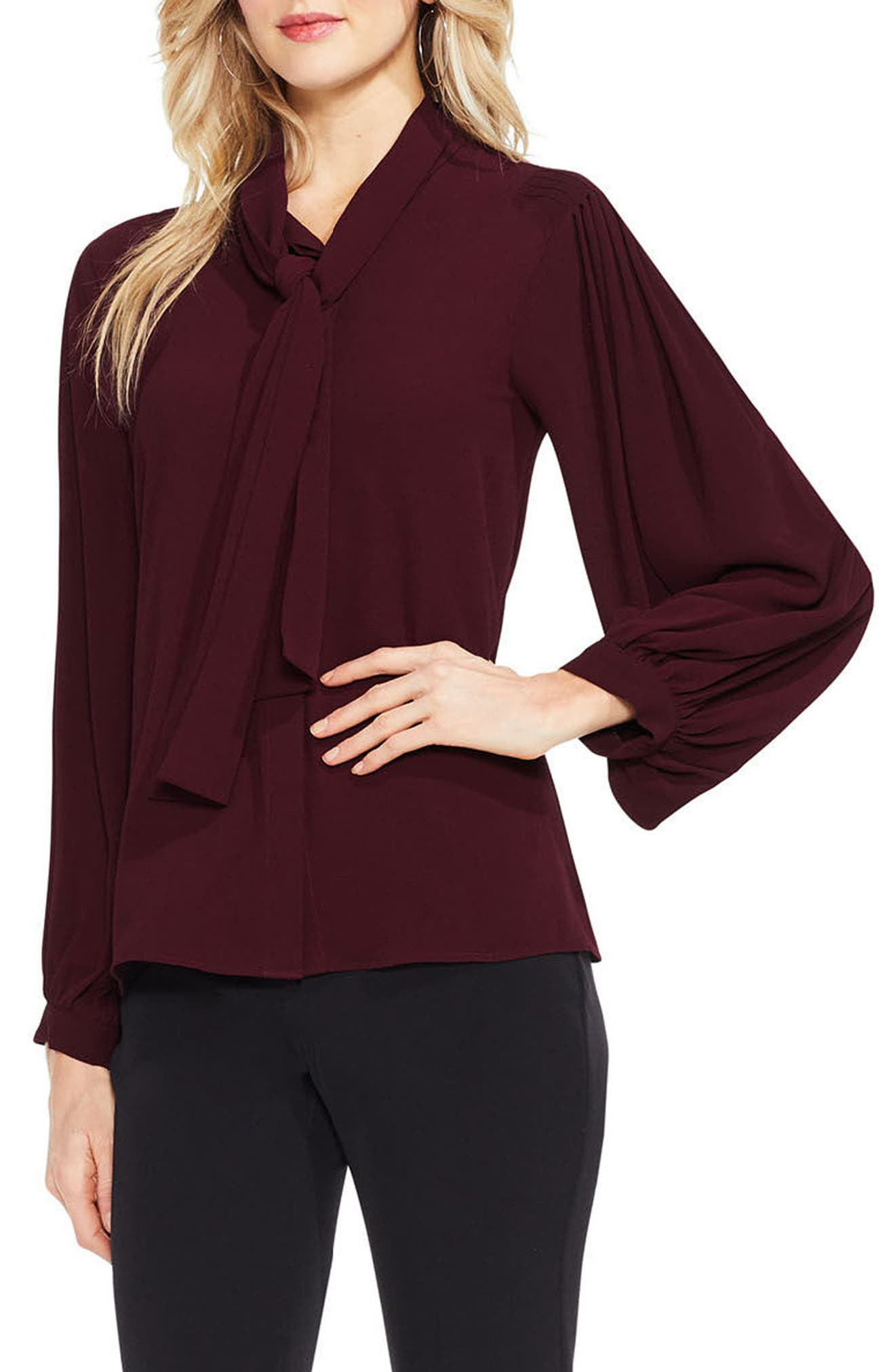 Alternate Image 1 Selected - Vince Camuto Long Sleeve Tie-Neck Blouse