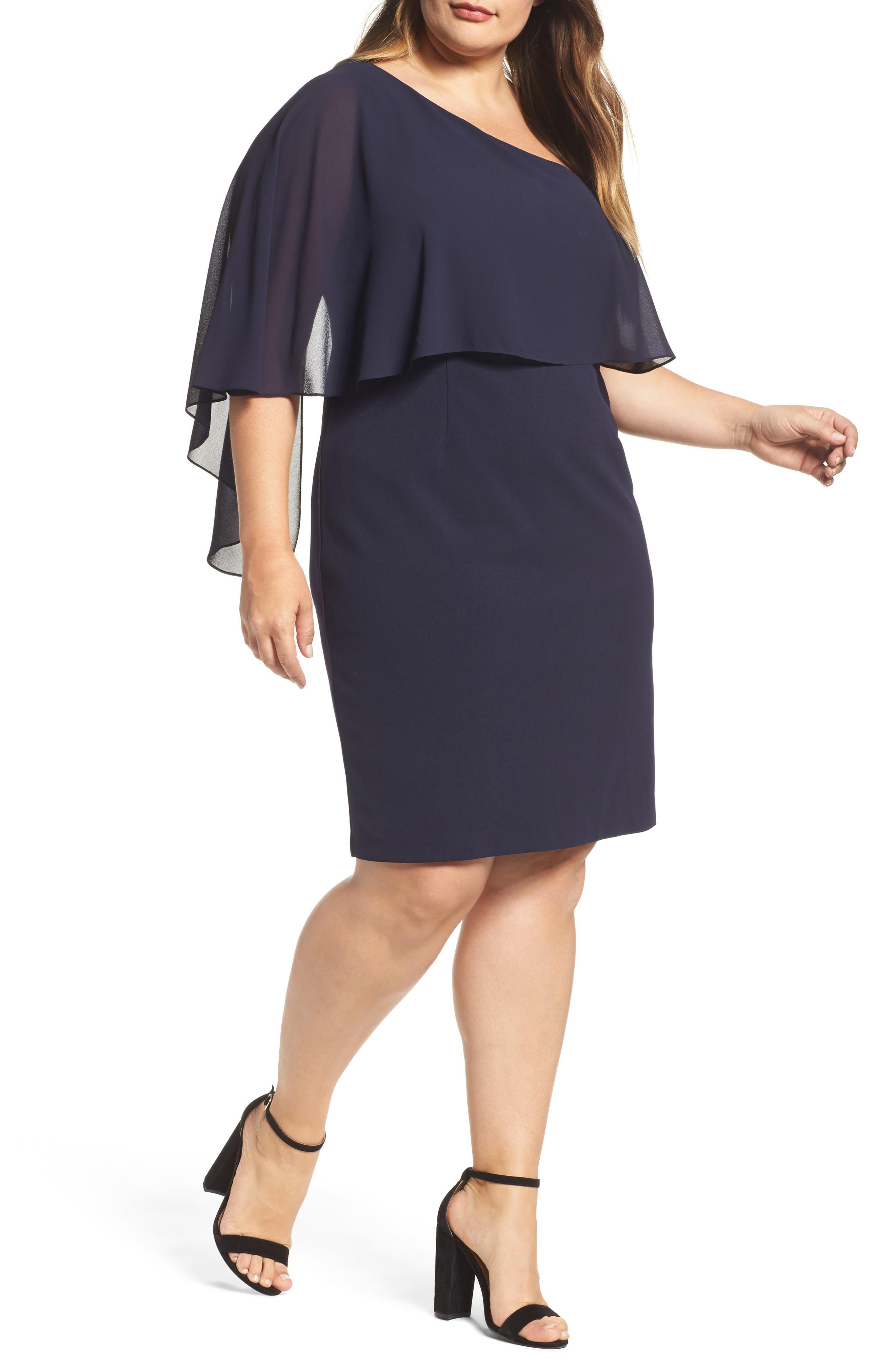 One-Shoulder Sheath Dress,                         Main,                         color, Navy