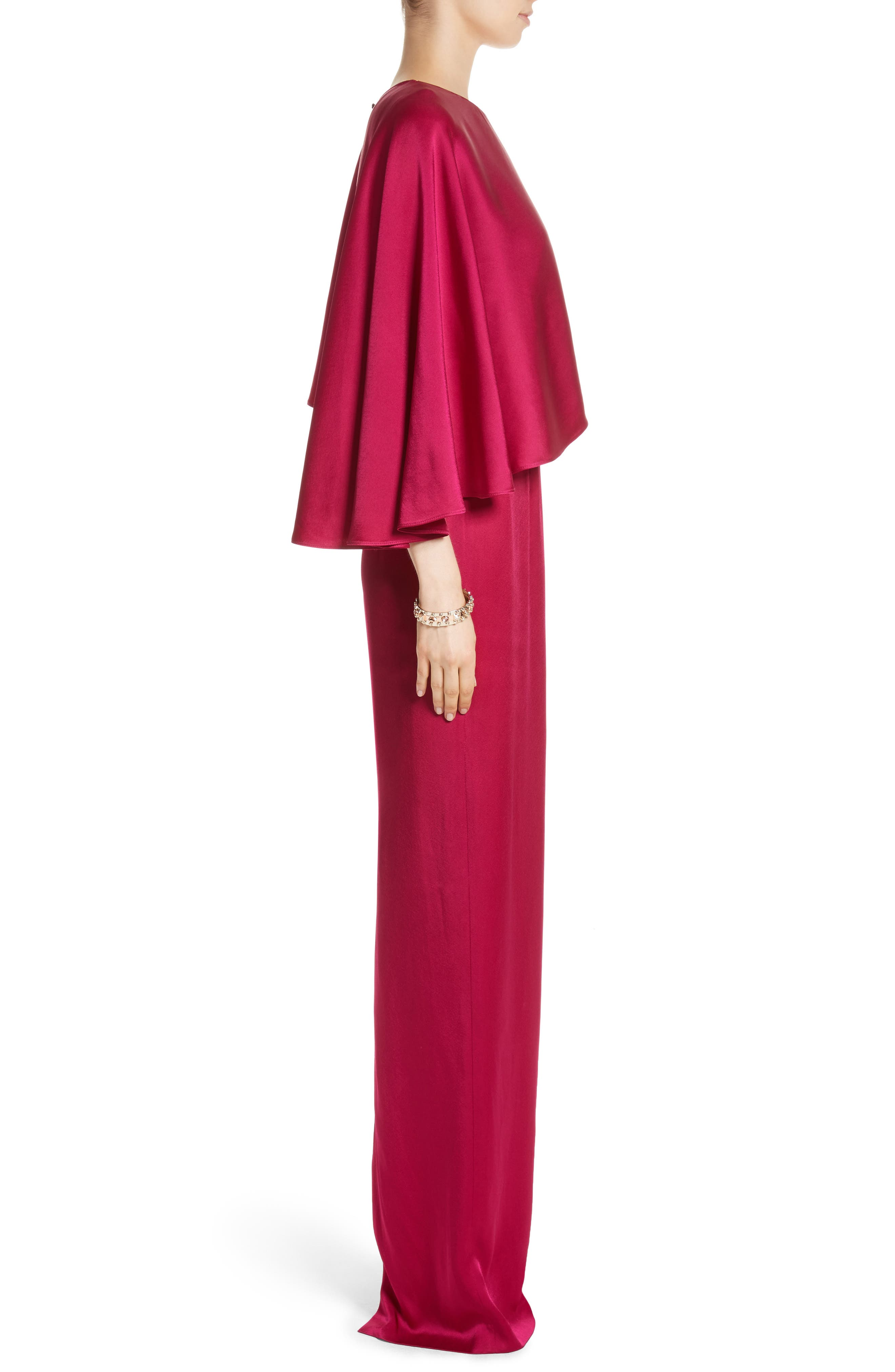 Alternate Image 3  - St. John Evening Popover Cape Liquid Crepe Column Gown