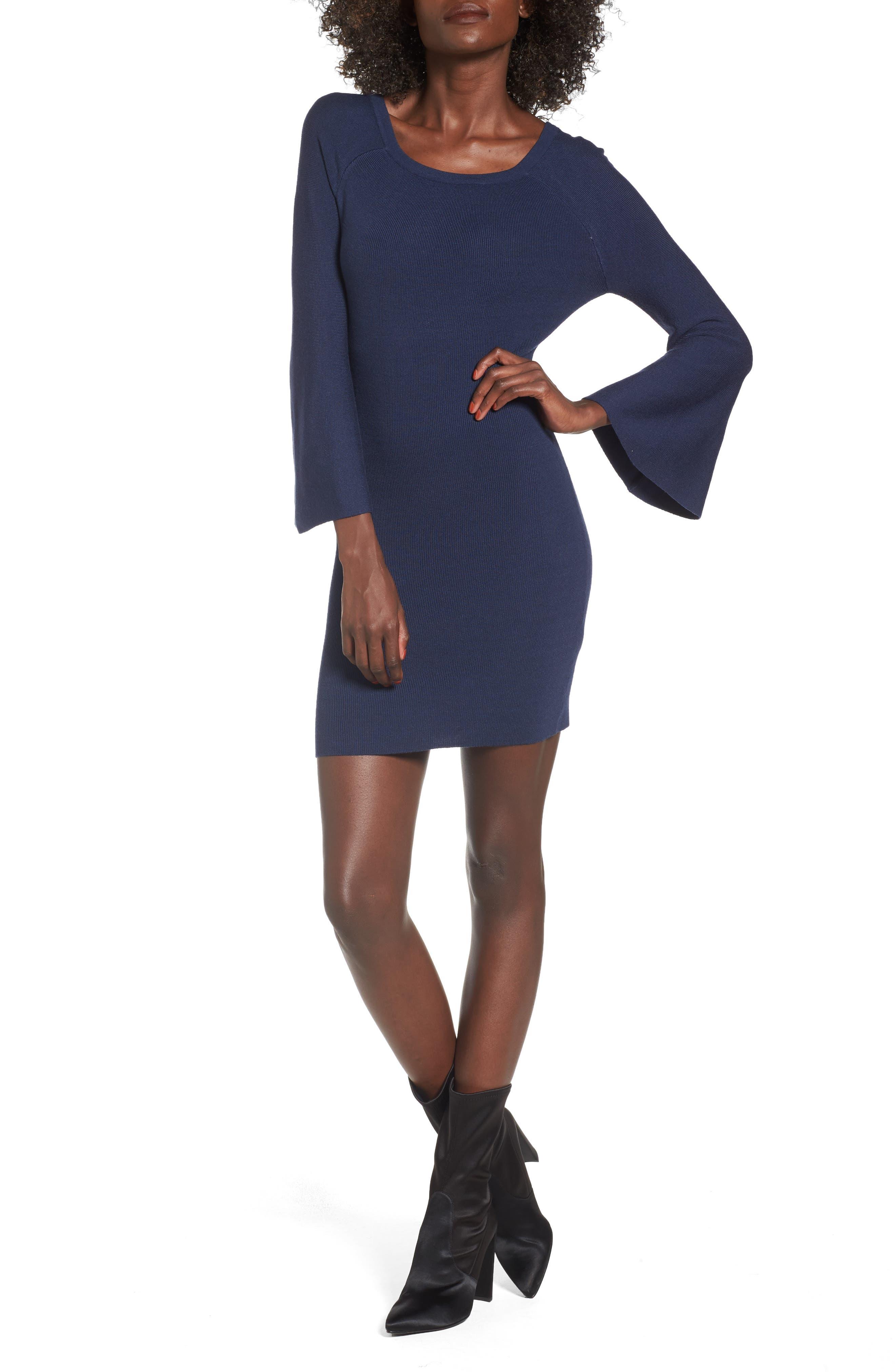 Flare Sleeve Body-Con Dress,                         Main,                         color, Blue
