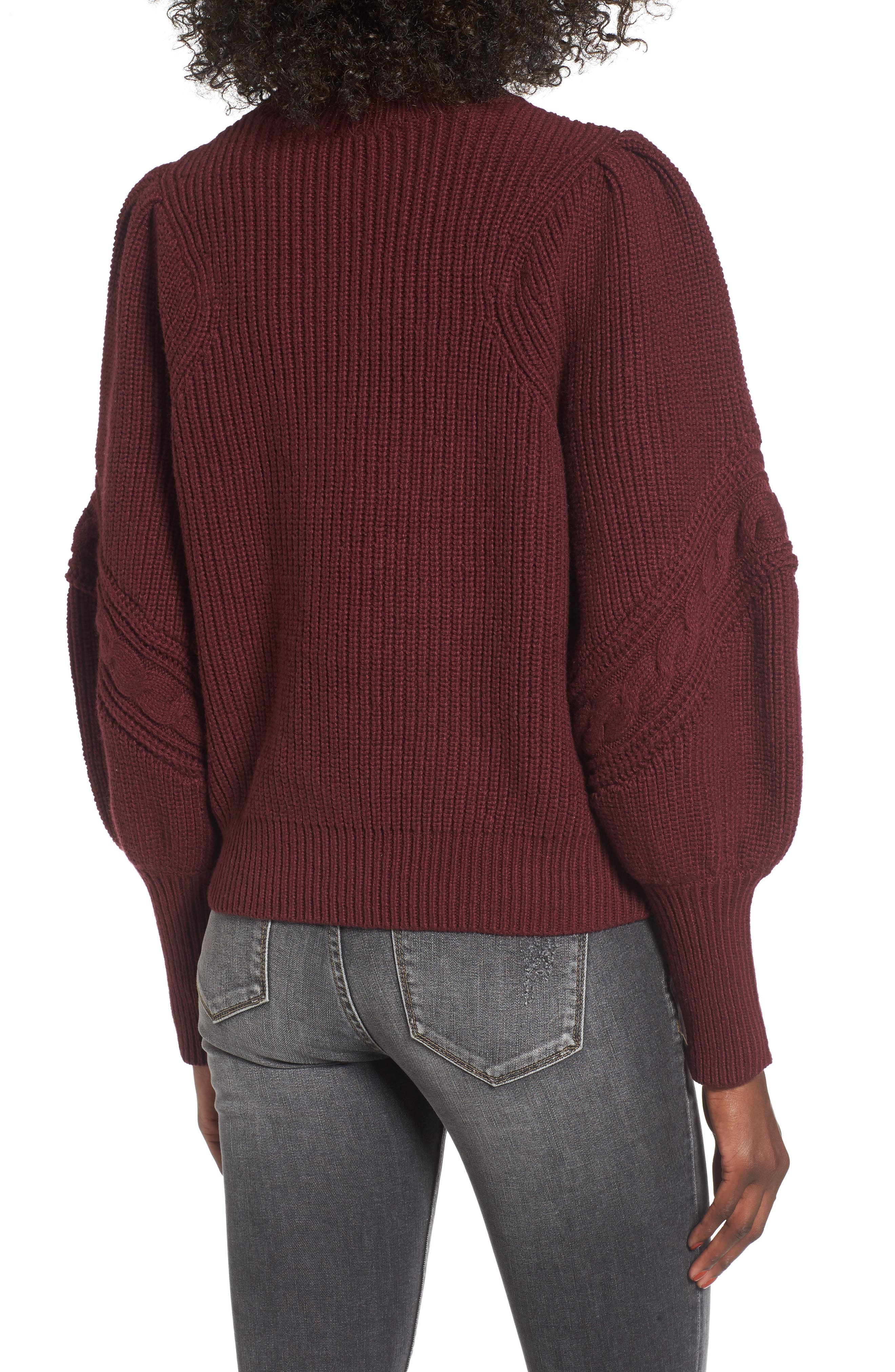Cable Knit Puff Sleeve Sweater,                             Alternate thumbnail 2, color,                             Burgundy Royale