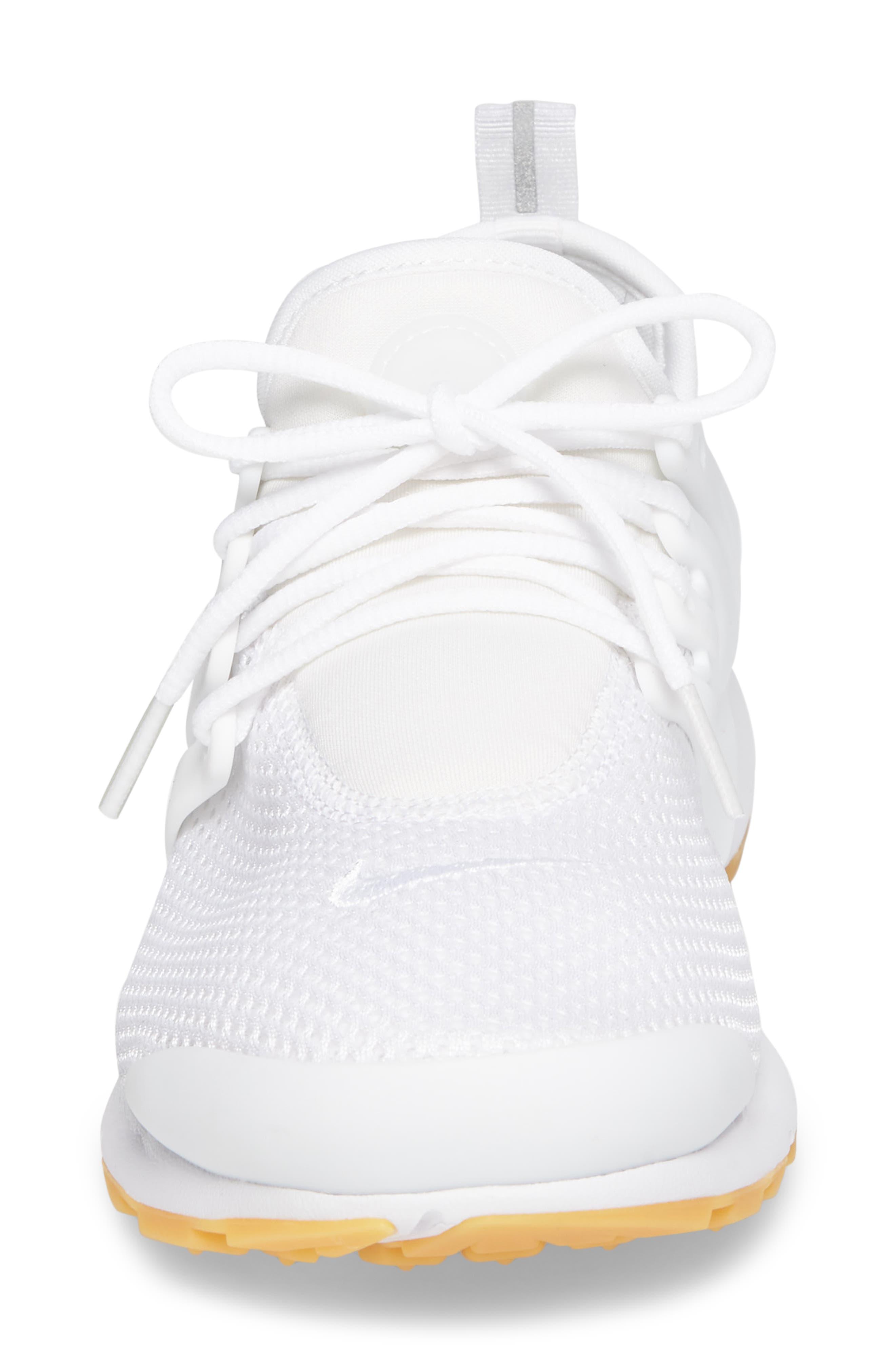 Air Presto Flyknit Ultra Sneaker,                             Alternate thumbnail 4, color,                             White/ Gum Yellow/ Wolf Grey