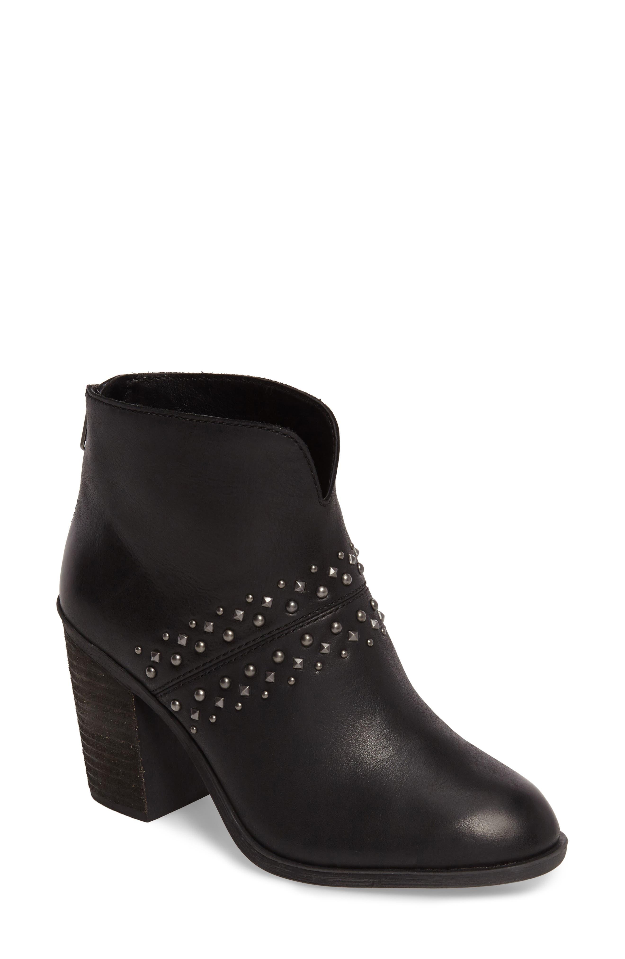 Sancha Studded Bootie,                         Main,                         color, Black Leather