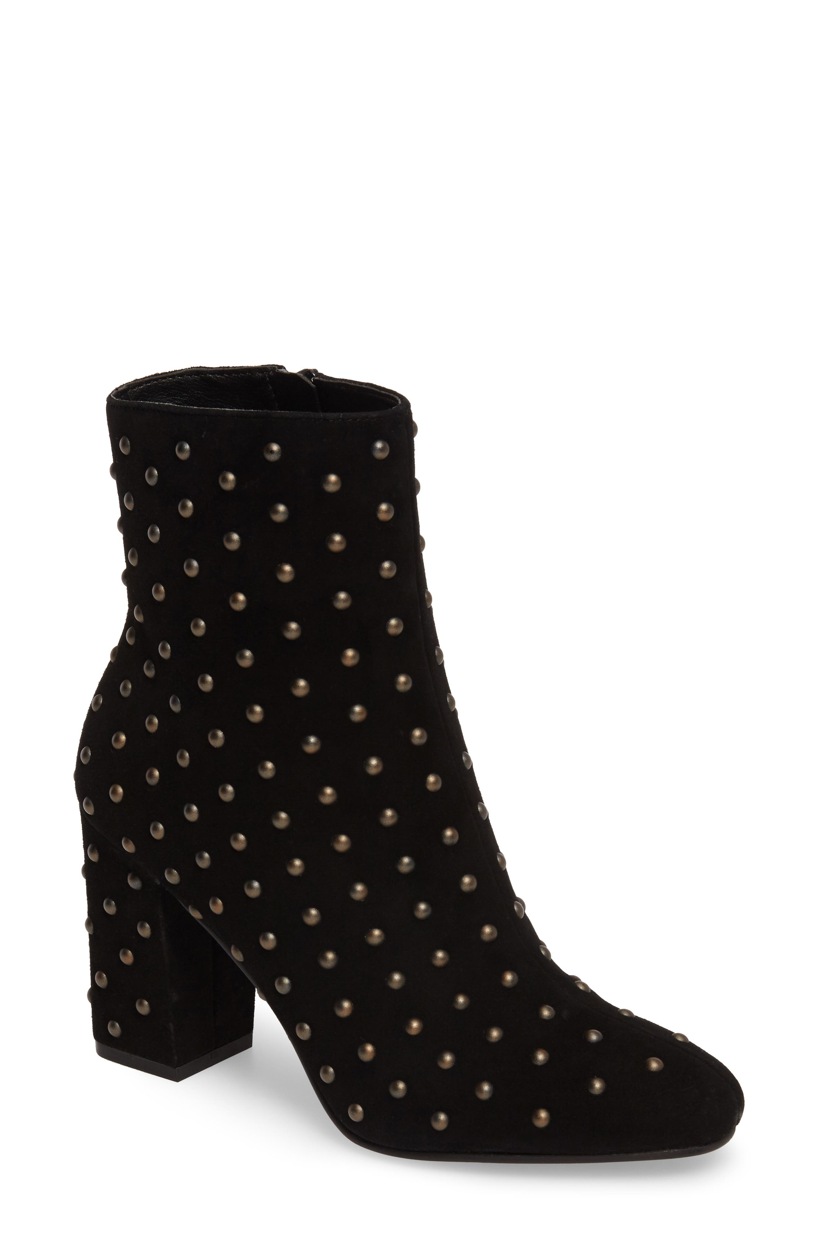 Wesson II Studded Bootie,                             Main thumbnail 1, color,                             Black Suede