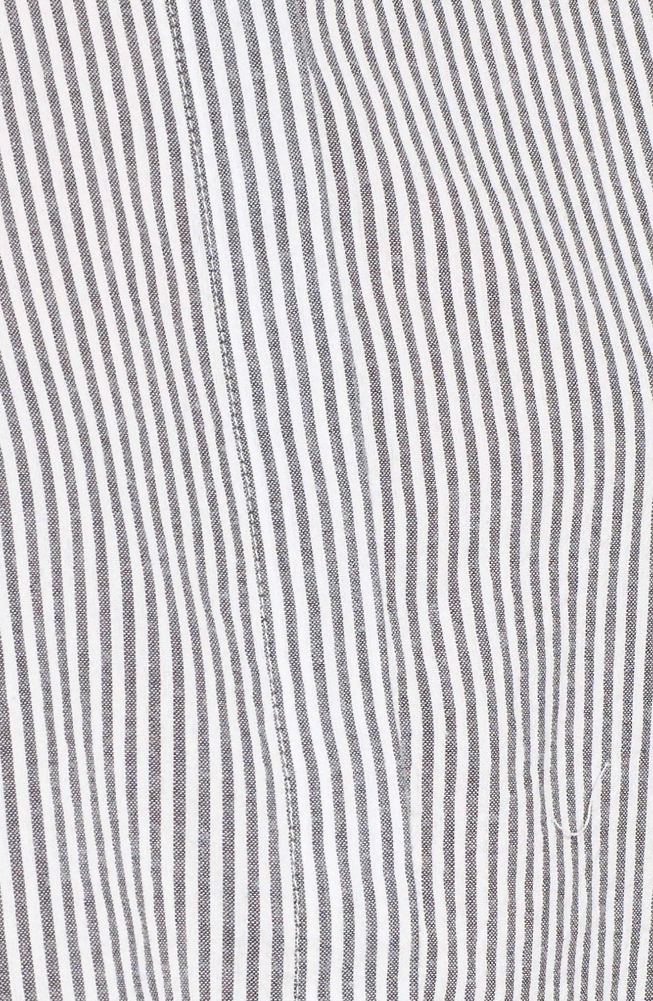 Ruffle Shoulder Shirt,                             Alternate thumbnail 5, color,                             Ivory Egret Katie Stripe