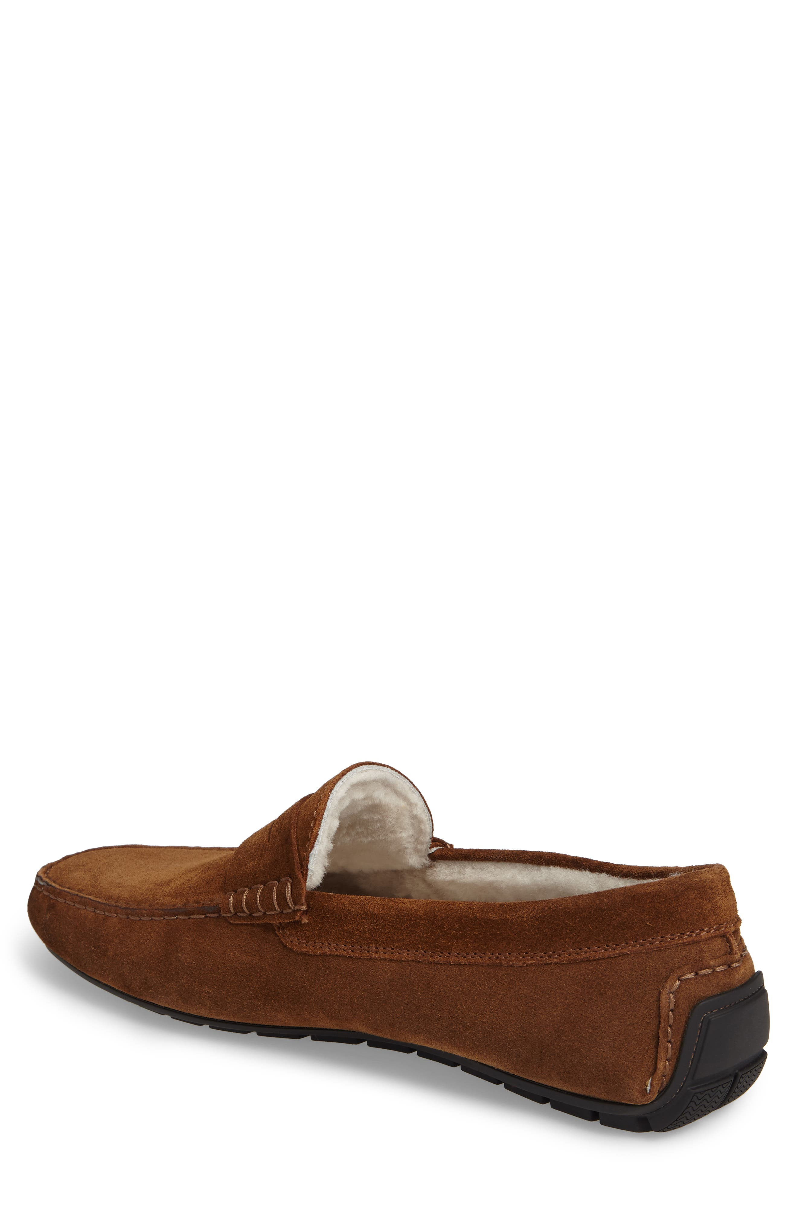 Norse Penny Loafer with Genuine Shearling,                             Alternate thumbnail 2, color,                             Brown/ Brown Suede Leather
