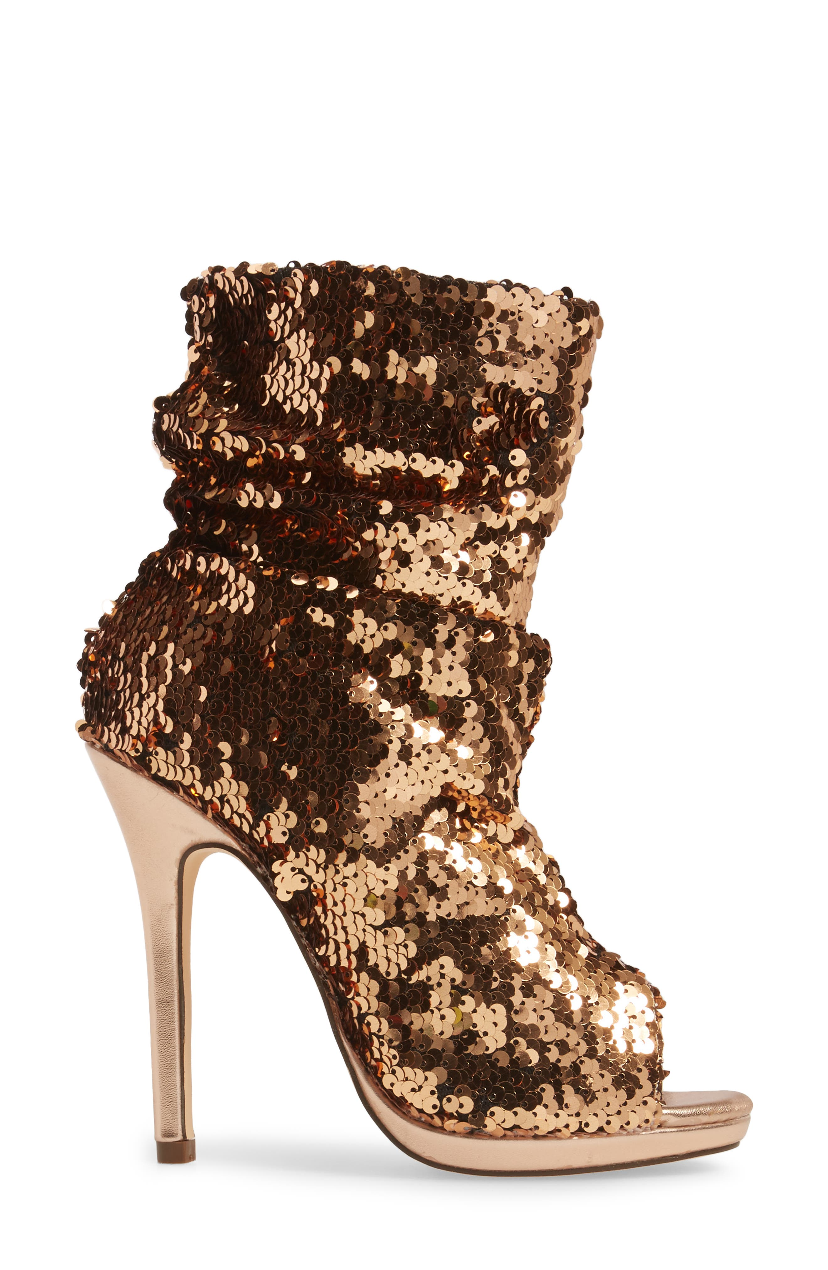 Marlow Sequin Slouch Bootie,                             Alternate thumbnail 3, color,                             Rose Gold