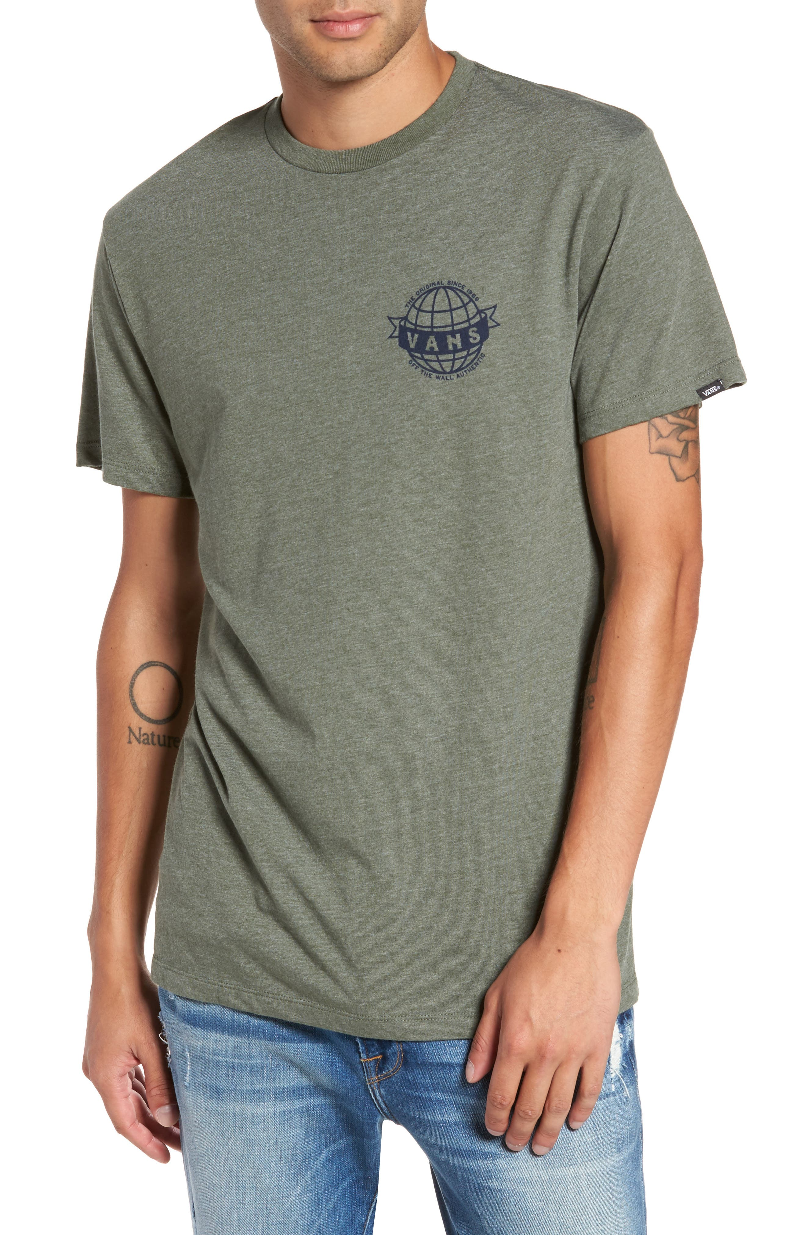 Global Landing Logo Graphic T-Shirt,                             Main thumbnail 1, color,                             Olive Heather