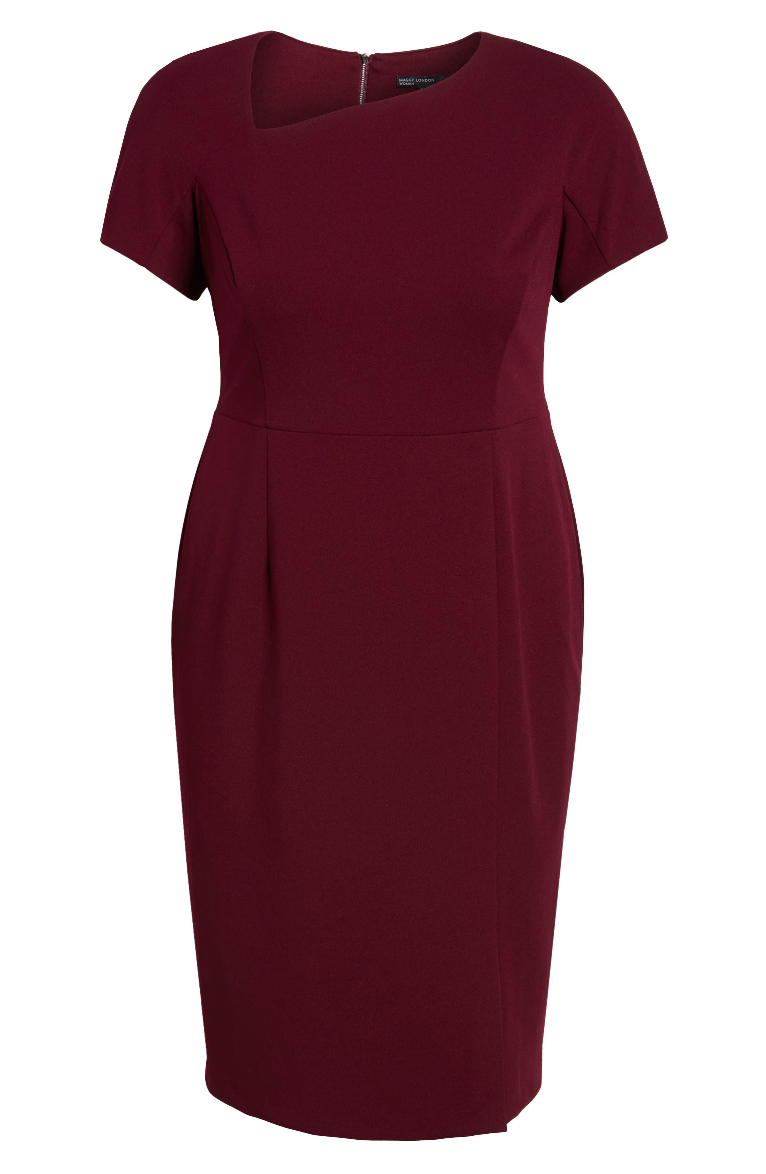 Asymmetrical Neck Sheath Dress,                             Alternate thumbnail 6, color,                             Burgundy