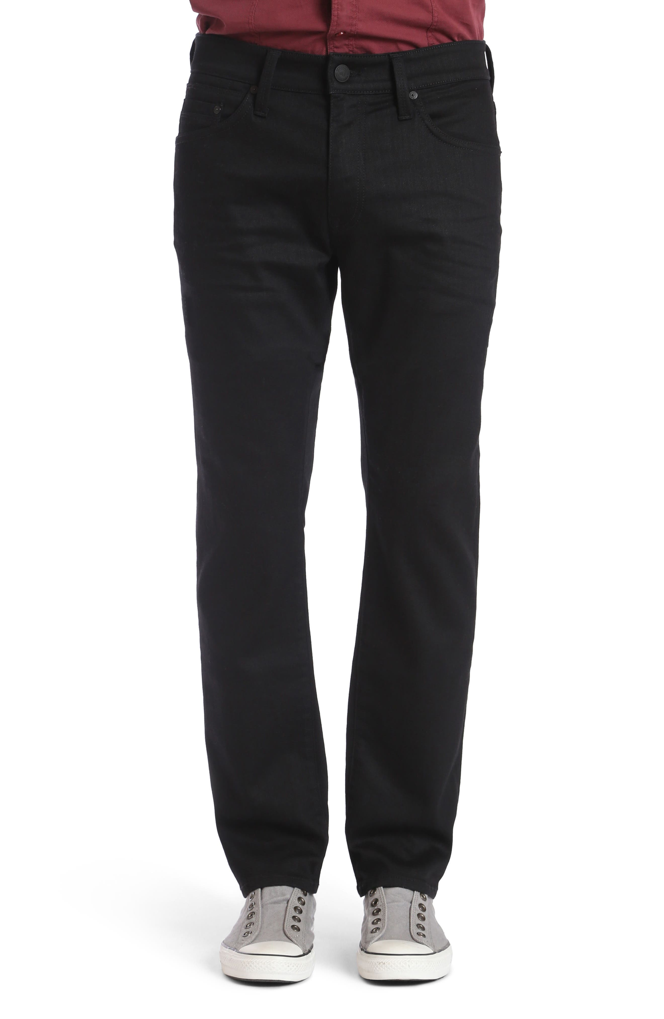 Alternate Image 1 Selected - Mavi Jeans Zach Straight Fit Jeans (Black Brushed Williamsburg)