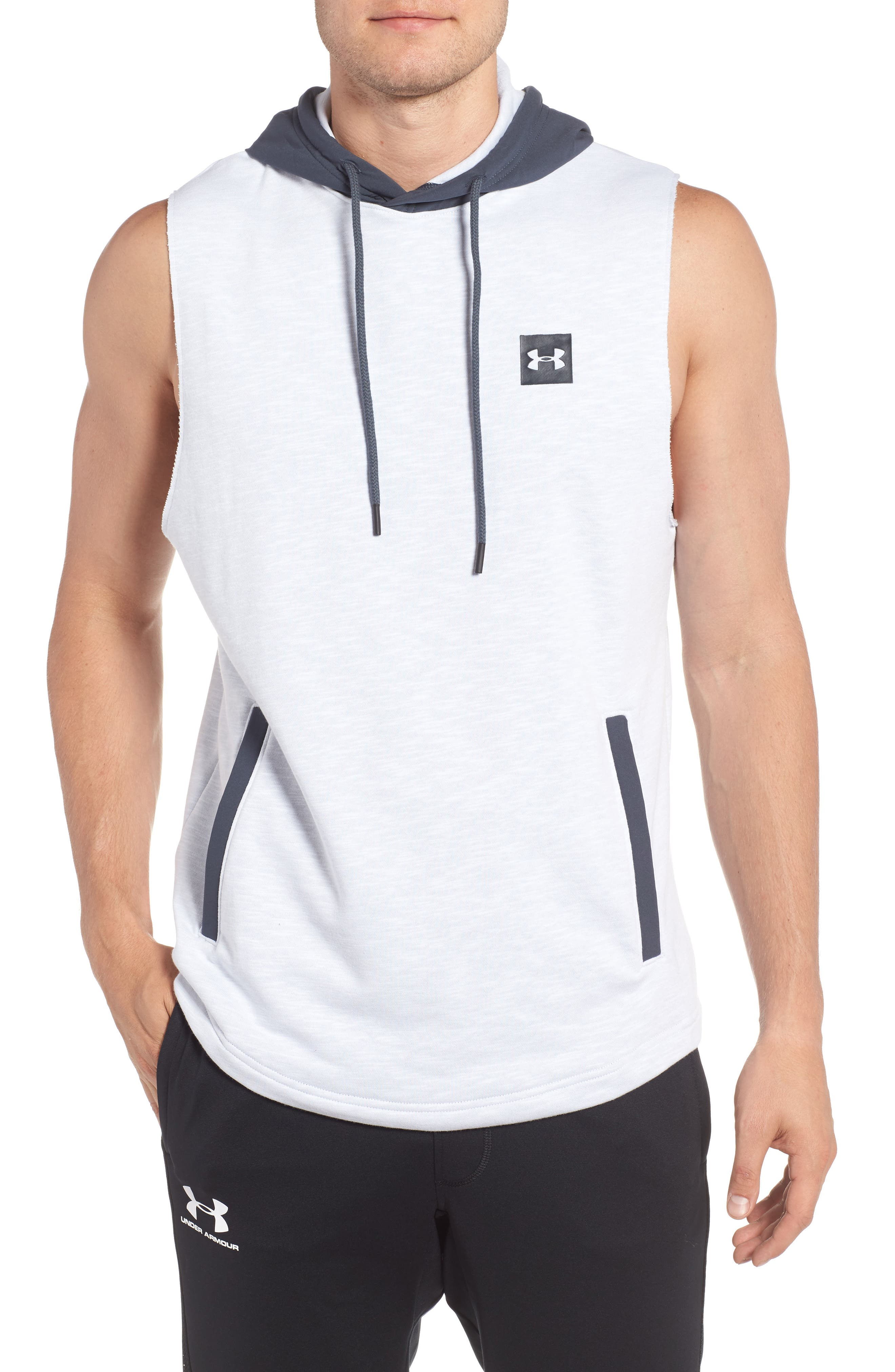 Sportstyle Sleeveless Hoodie,                         Main,                         color, White / Stealth Gray