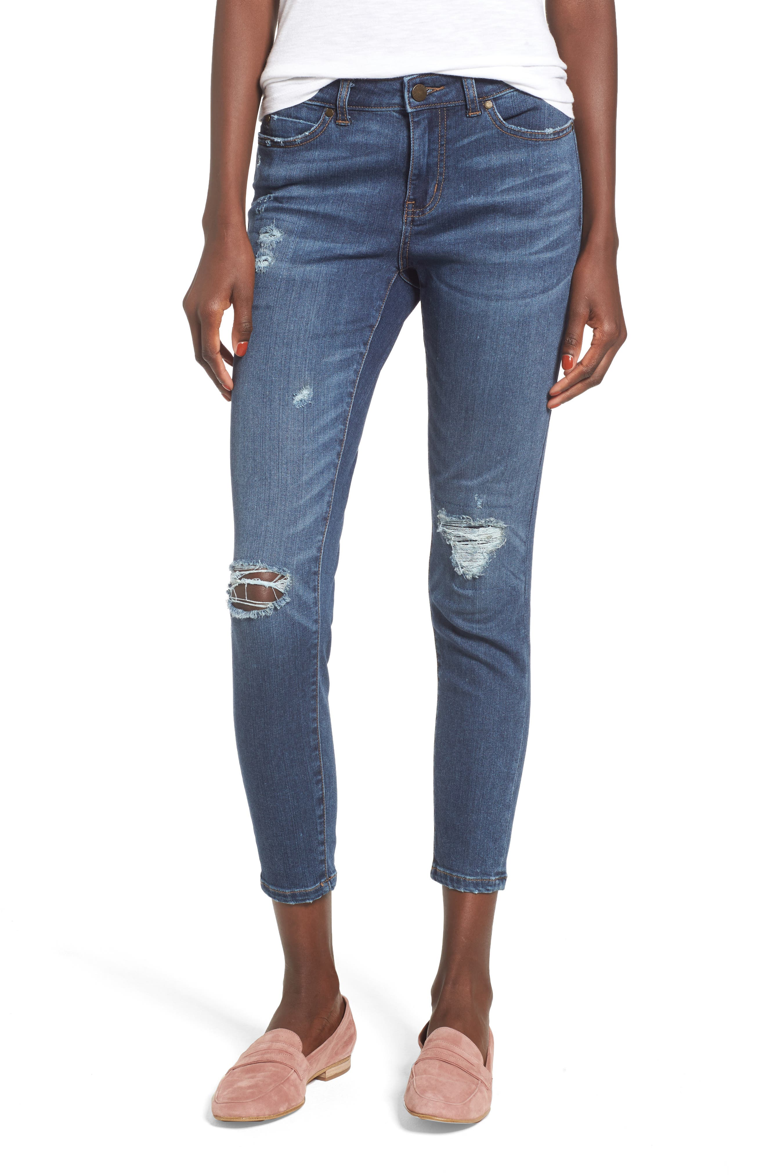 Rip & Repair Ankle Skinny Jeans,                         Main,                         color, Blue Octavia Wash