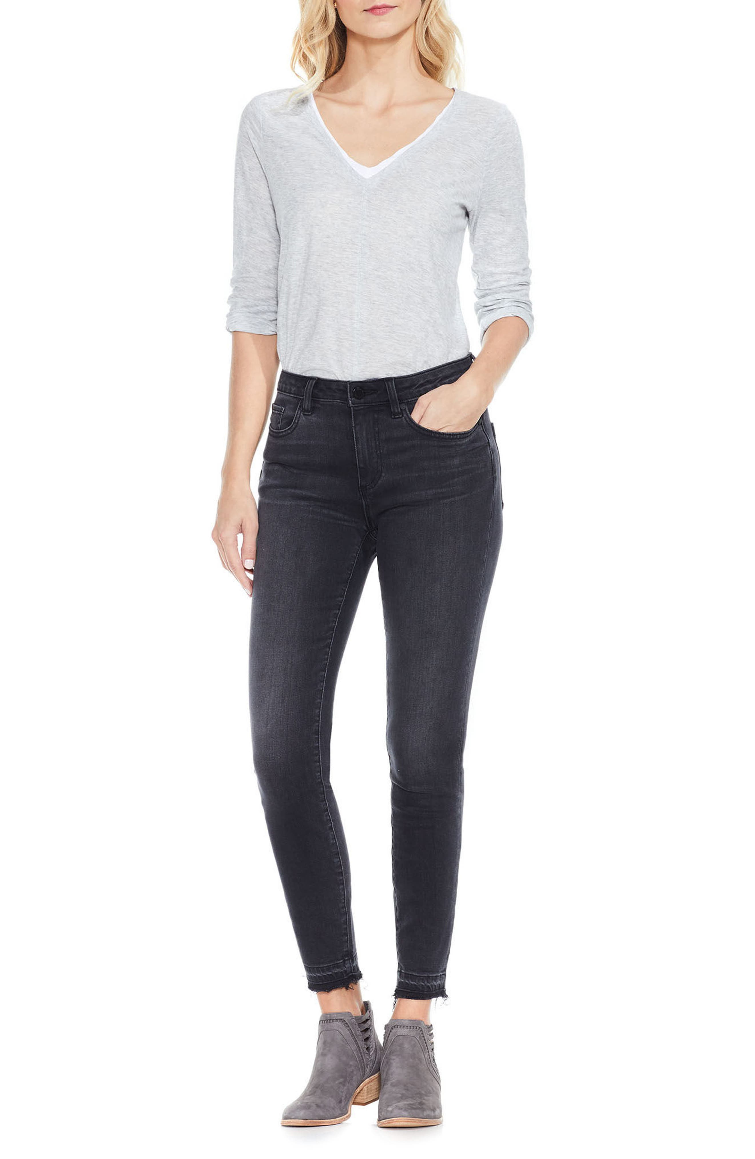 Alternate Image 2  - Two by Vince Camuto Release Hem Ankle Jeans (Coal)