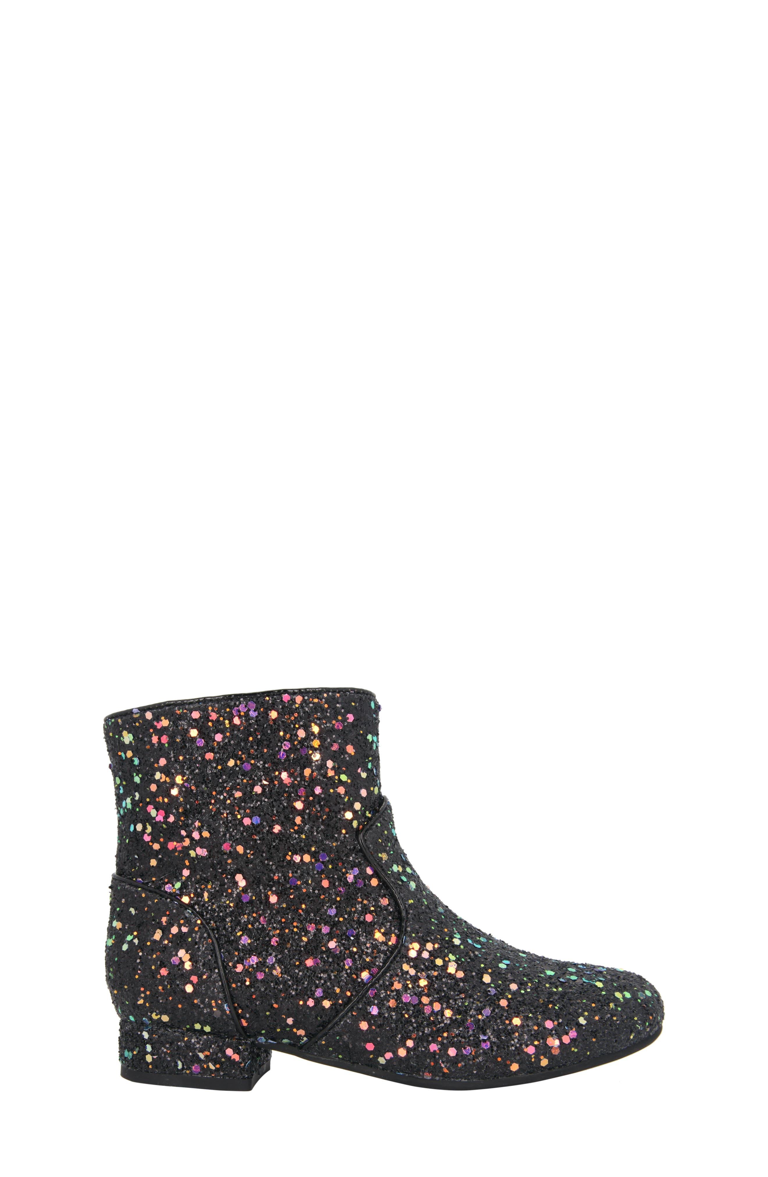 Amy Multicolor Glitter Bootie,                             Alternate thumbnail 3, color,                             Black Chunky Glitter