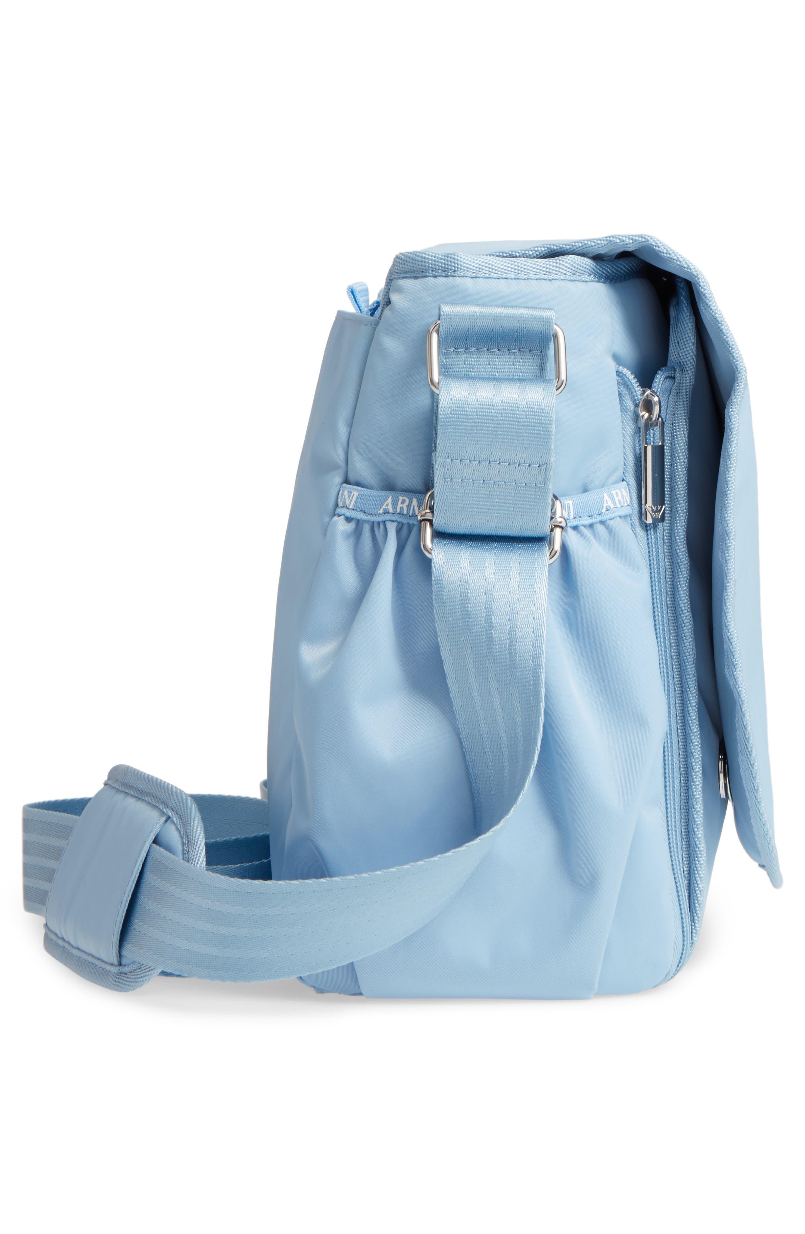 Nylon Messenger Diaper Bag,                             Alternate thumbnail 5, color,                             Light Blue