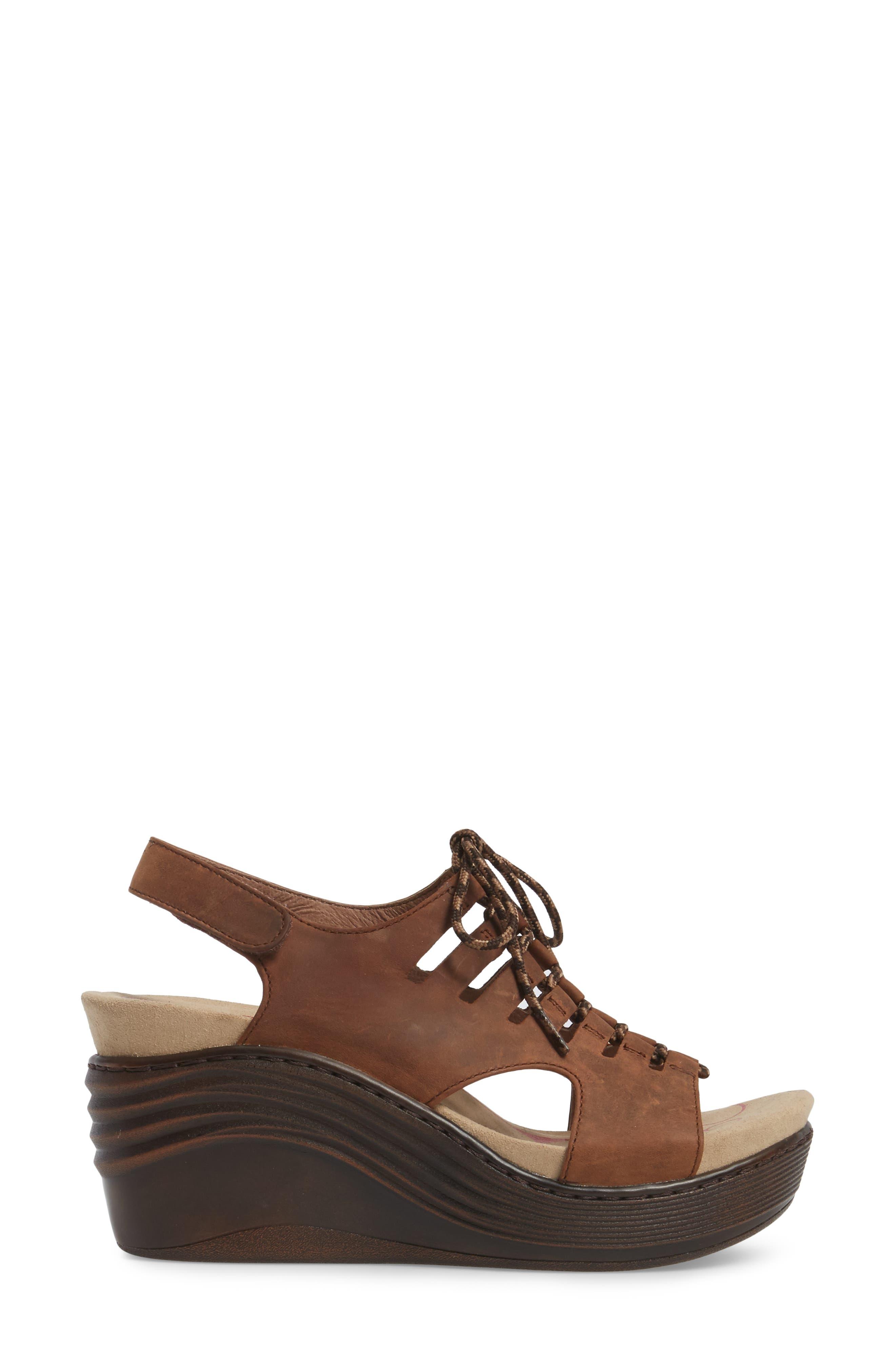 Sirus Wedge Sandal,                             Alternate thumbnail 3, color,                             Aztec Brown Leather