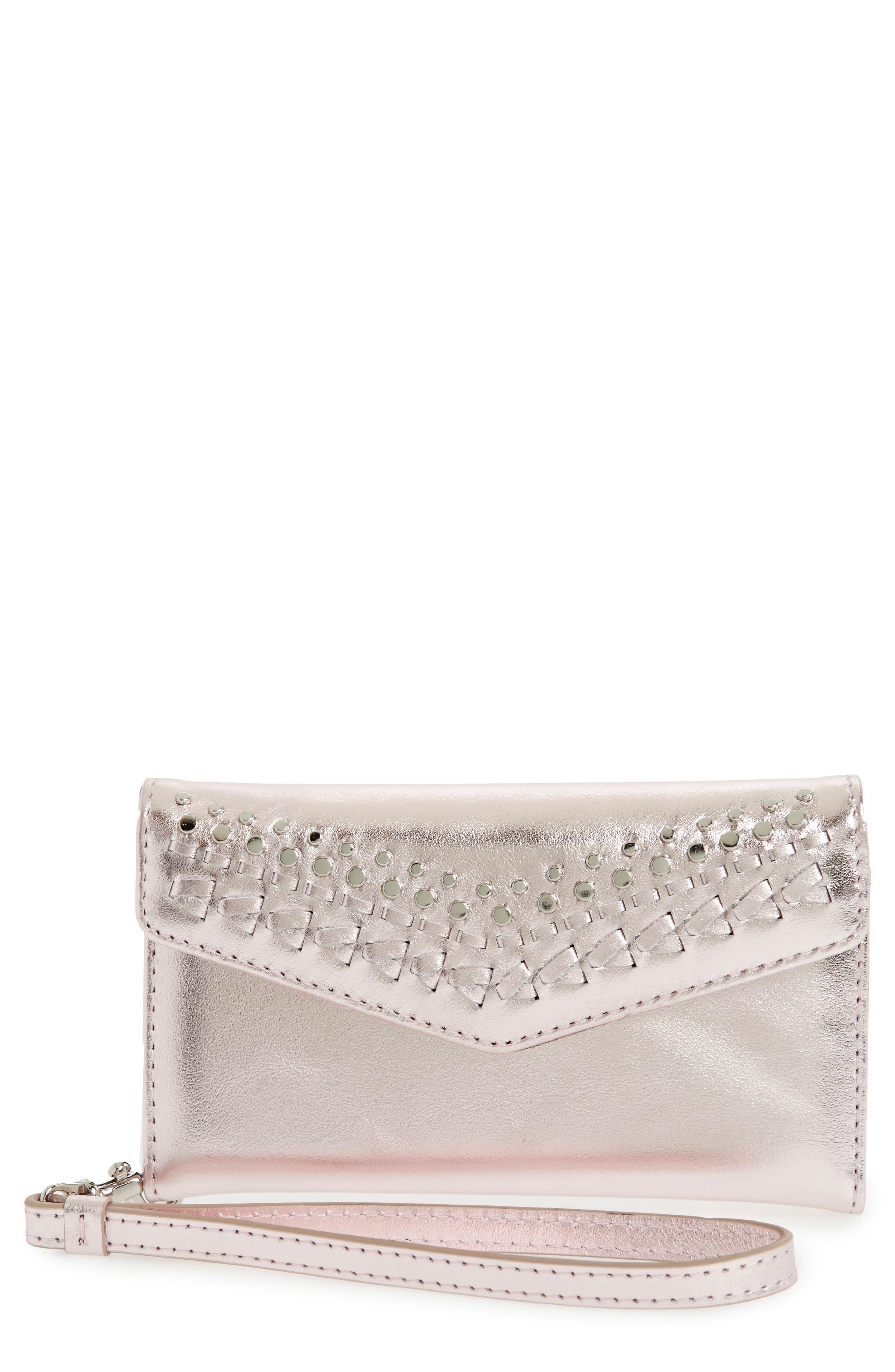 REBECCA MINKOFF Leather Whipstitch iPhone 7 Wristlet