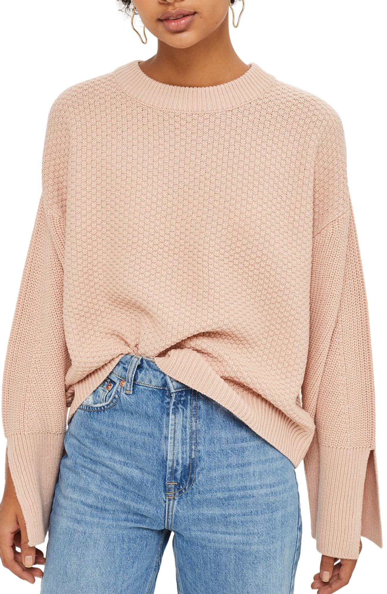Wide Sleeve Sweater,                             Main thumbnail 1, color,                             Nude