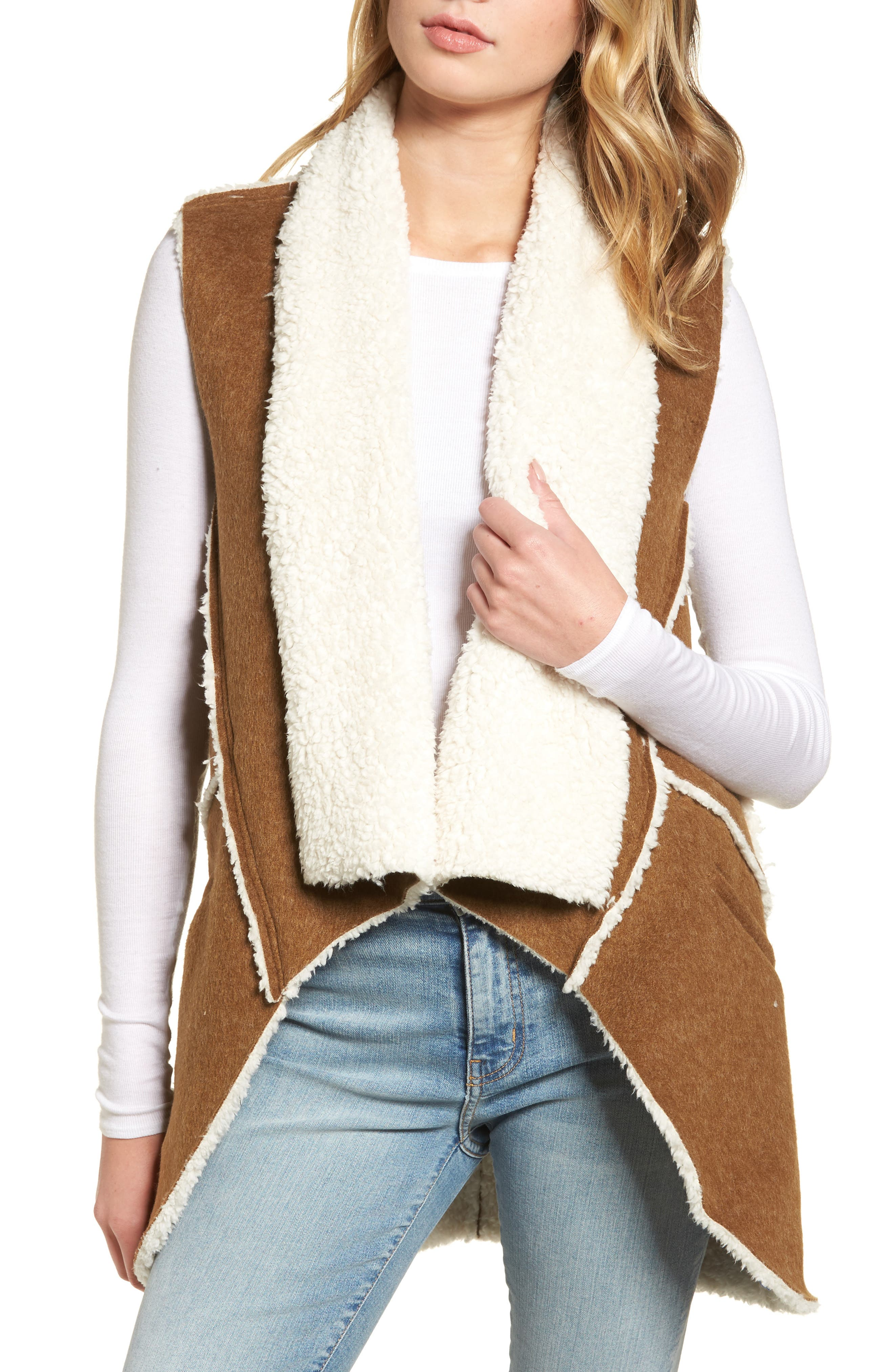 Flannel Faux Shearling Vest,                         Main,                         color, Brown/ Natural
