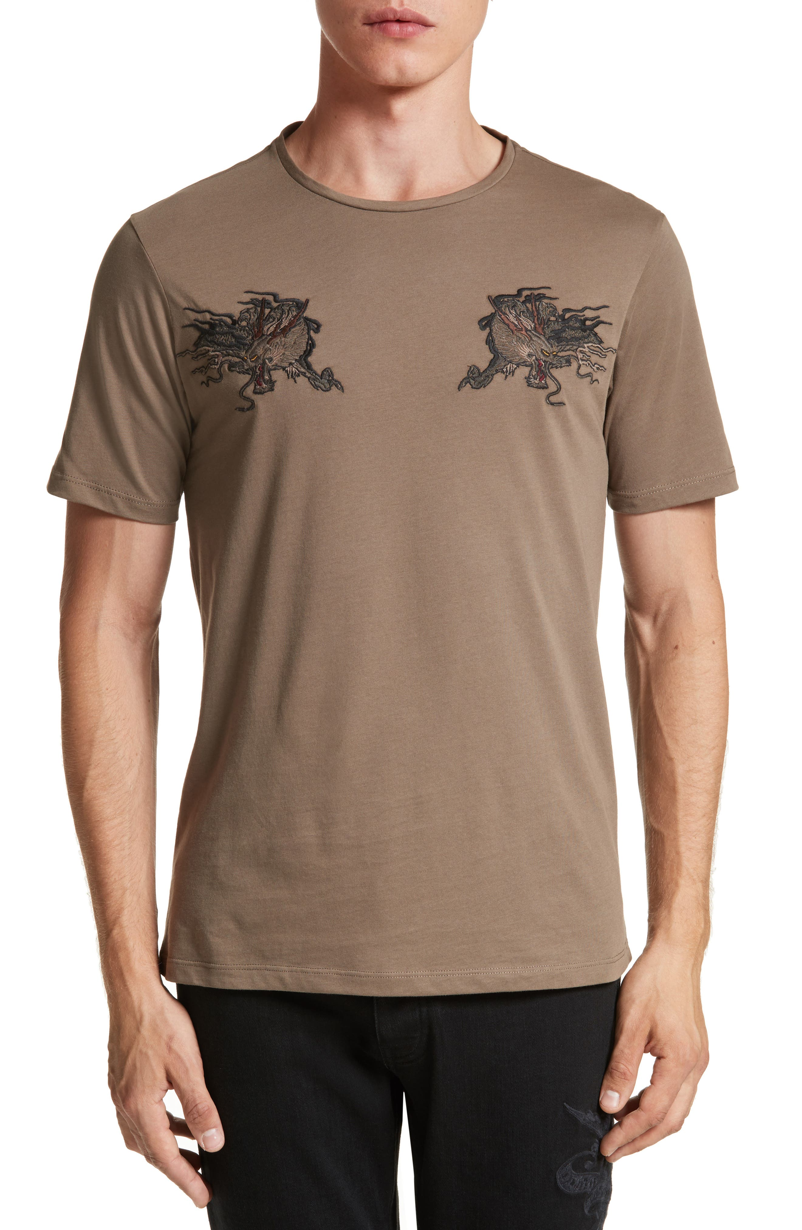 Embroidered Dragon T-Shirt,                             Main thumbnail 1, color,                             Light Brown