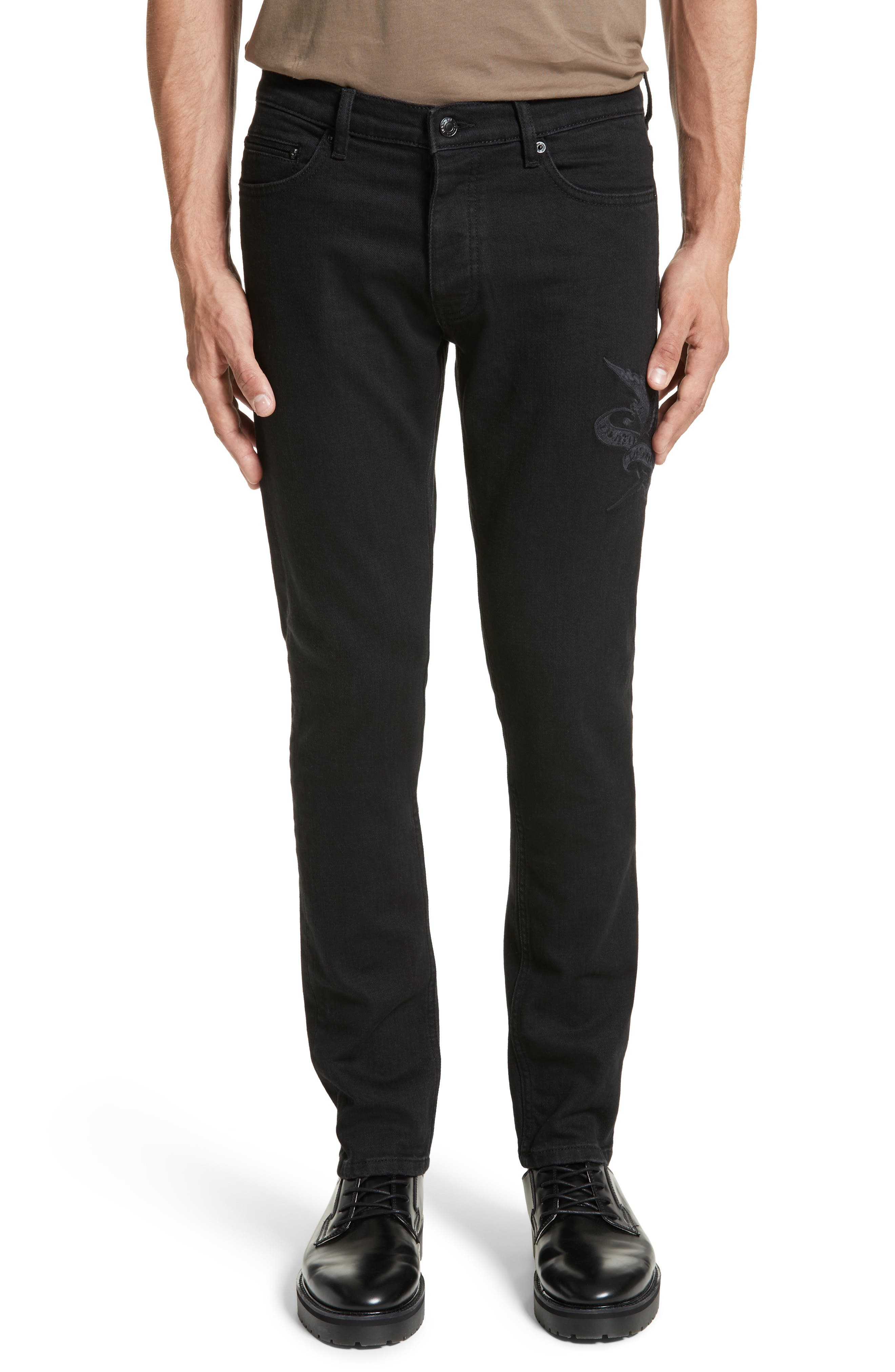 Main Image - The Kooples Embroidered Slim Fit Jeans