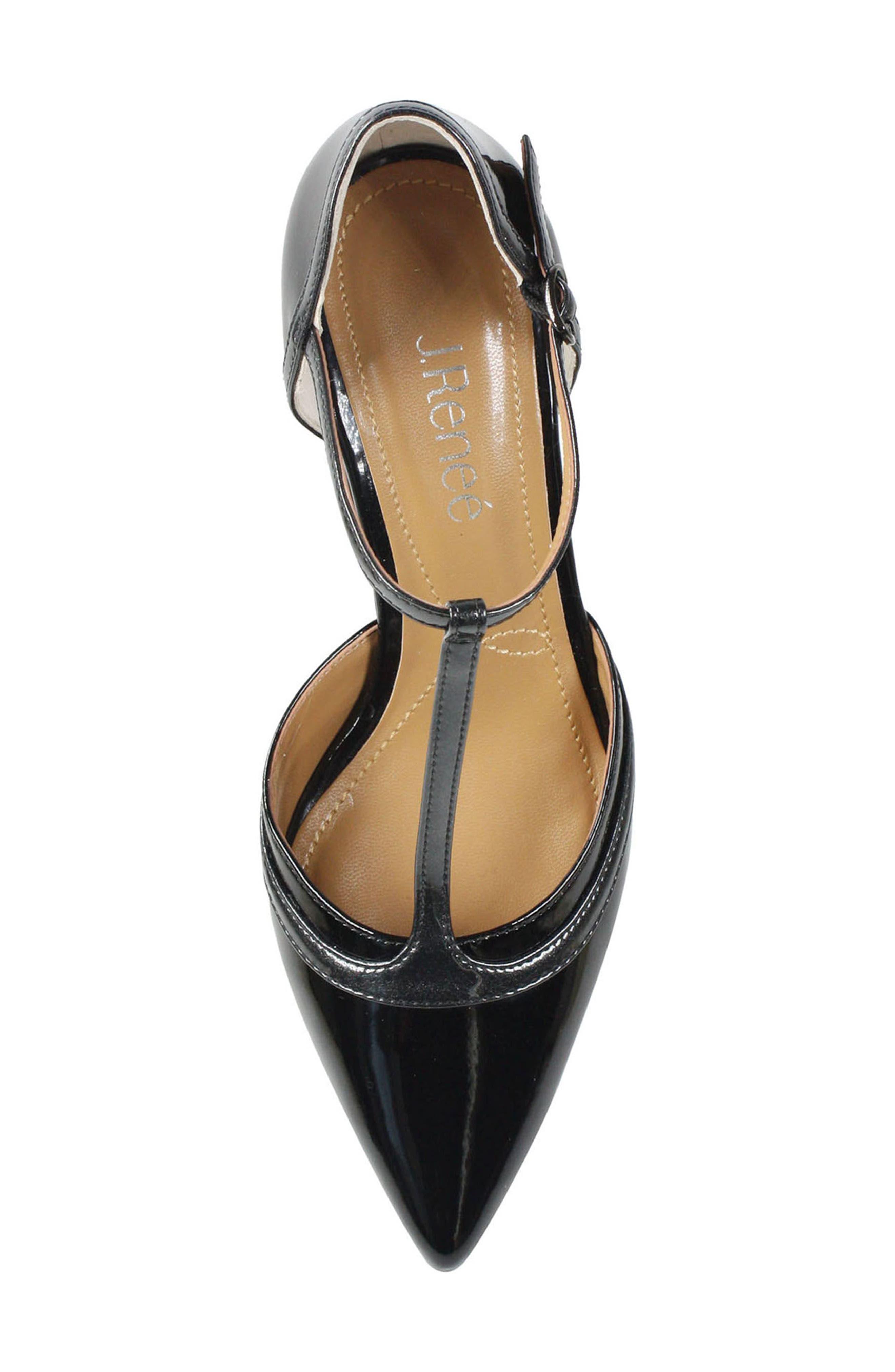 Emiliana T-Strap Pump,                             Alternate thumbnail 5, color,                             Black/ Pewter Patent Leather