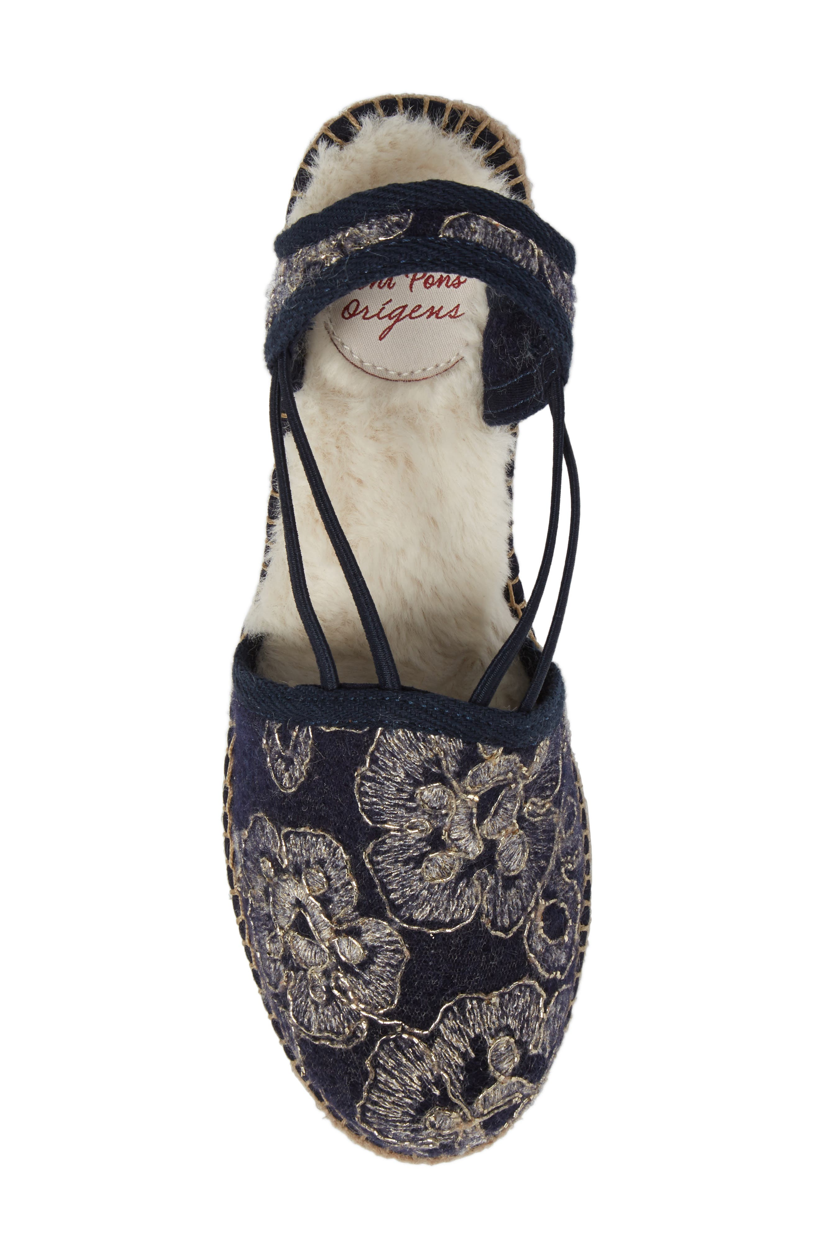 Medan Faux Fur Lined Espadrille Wedge,                             Alternate thumbnail 5, color,                             Navy Fabric