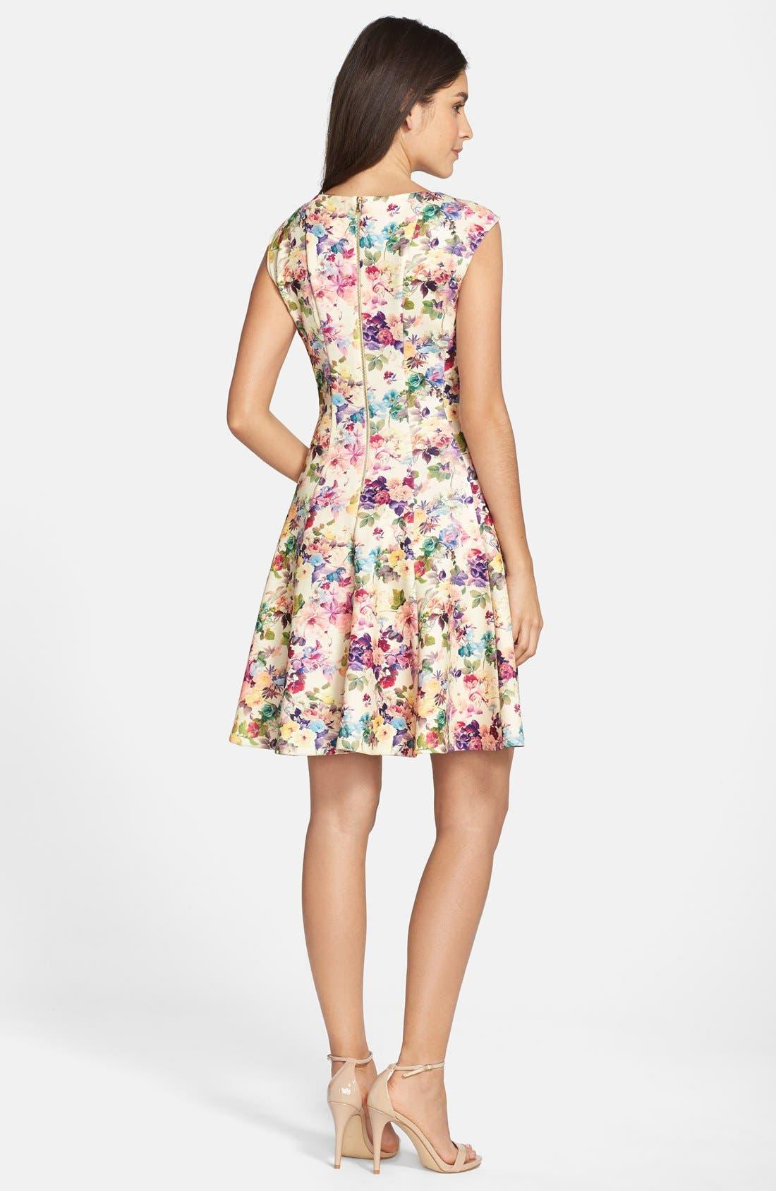 Alternate Image 2  - Gabby Skye Floral Print Scuba Fit & Flare Dress