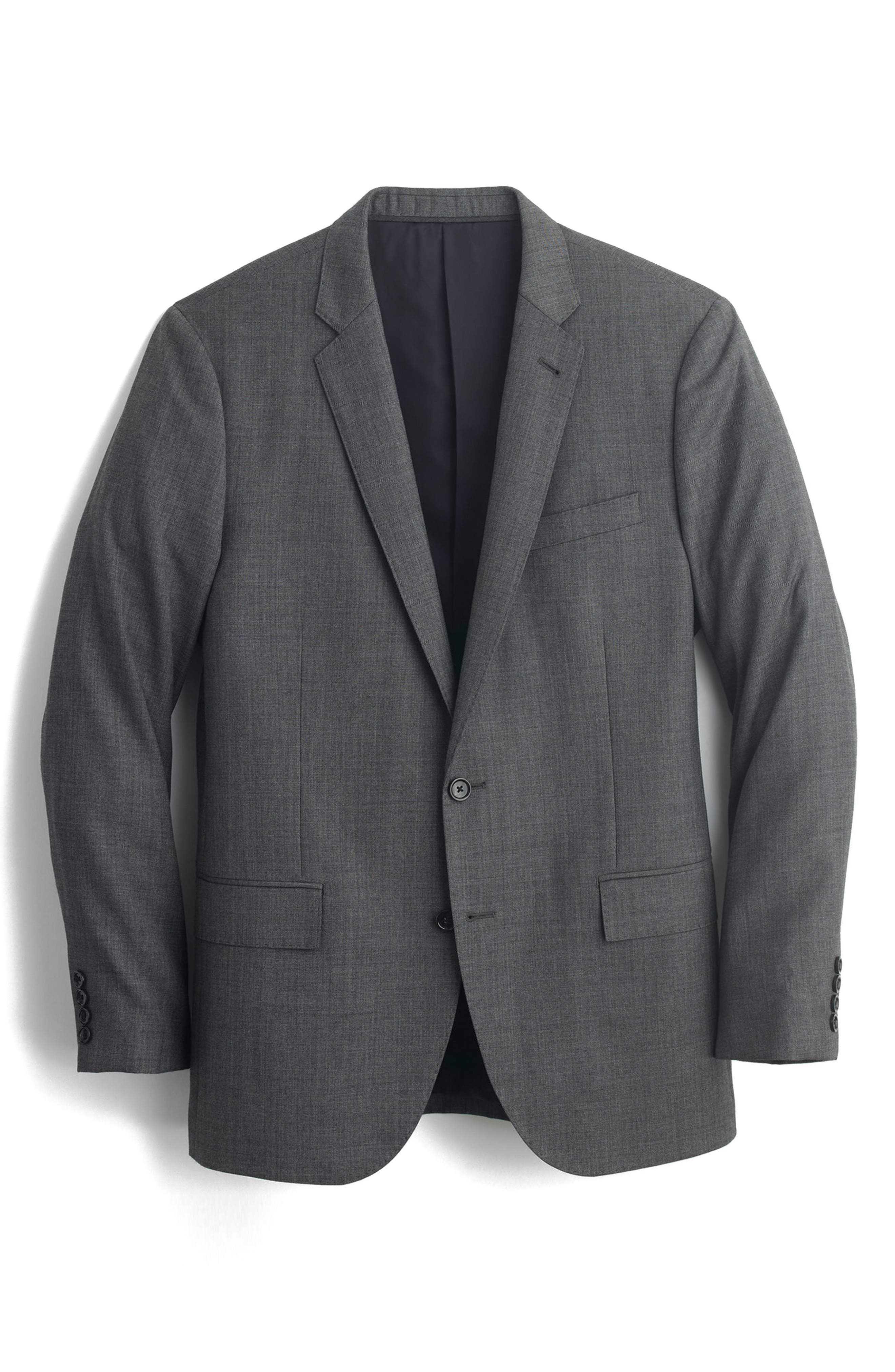 J.Crew Ludlow Trim Fit Solid Wool Sport Coat,                             Alternate thumbnail 7, color,                             Charcoal