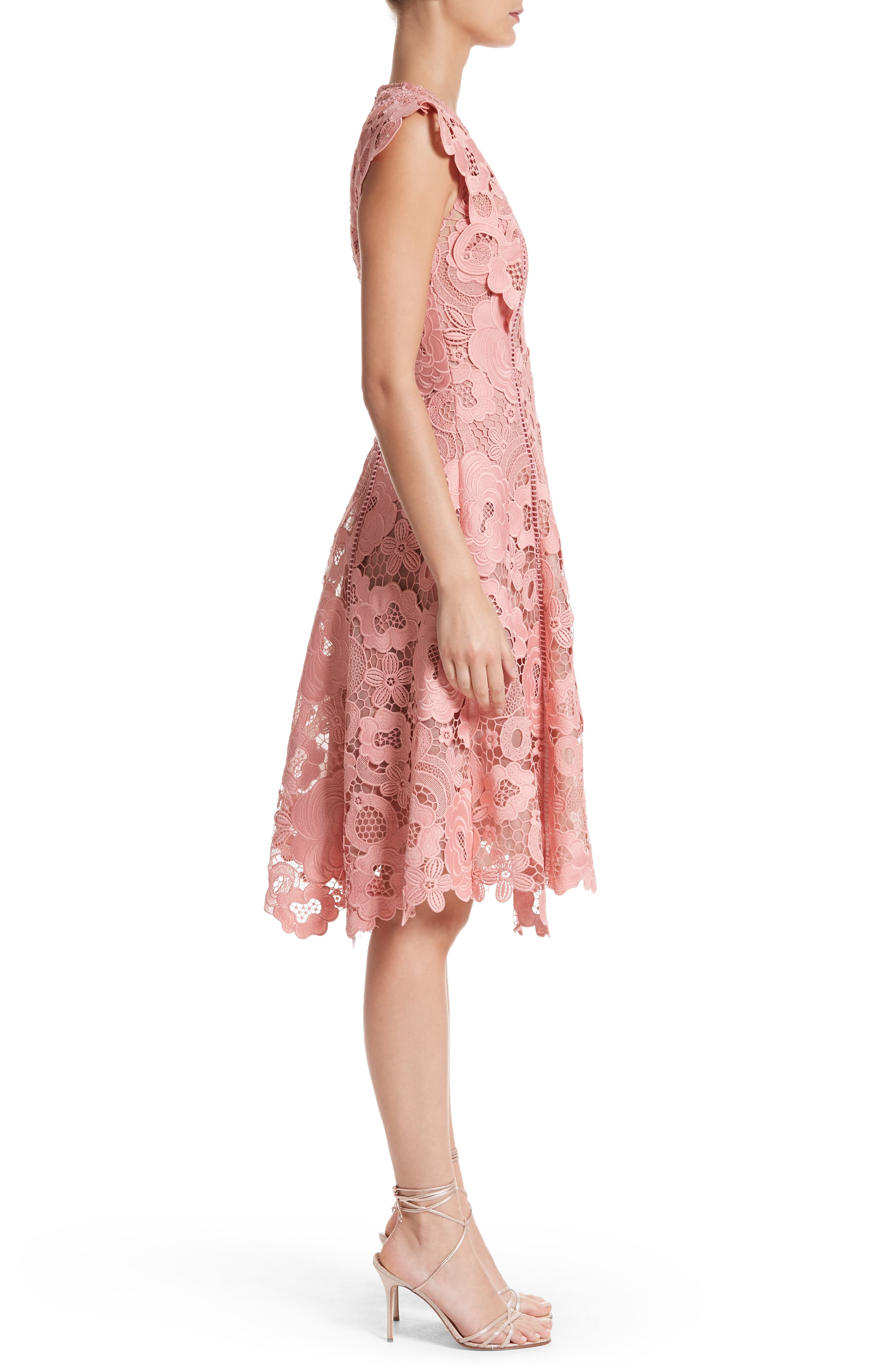 Seamed Lace Fit & Flare Dress,                             Alternate thumbnail 3, color,                             Peony
