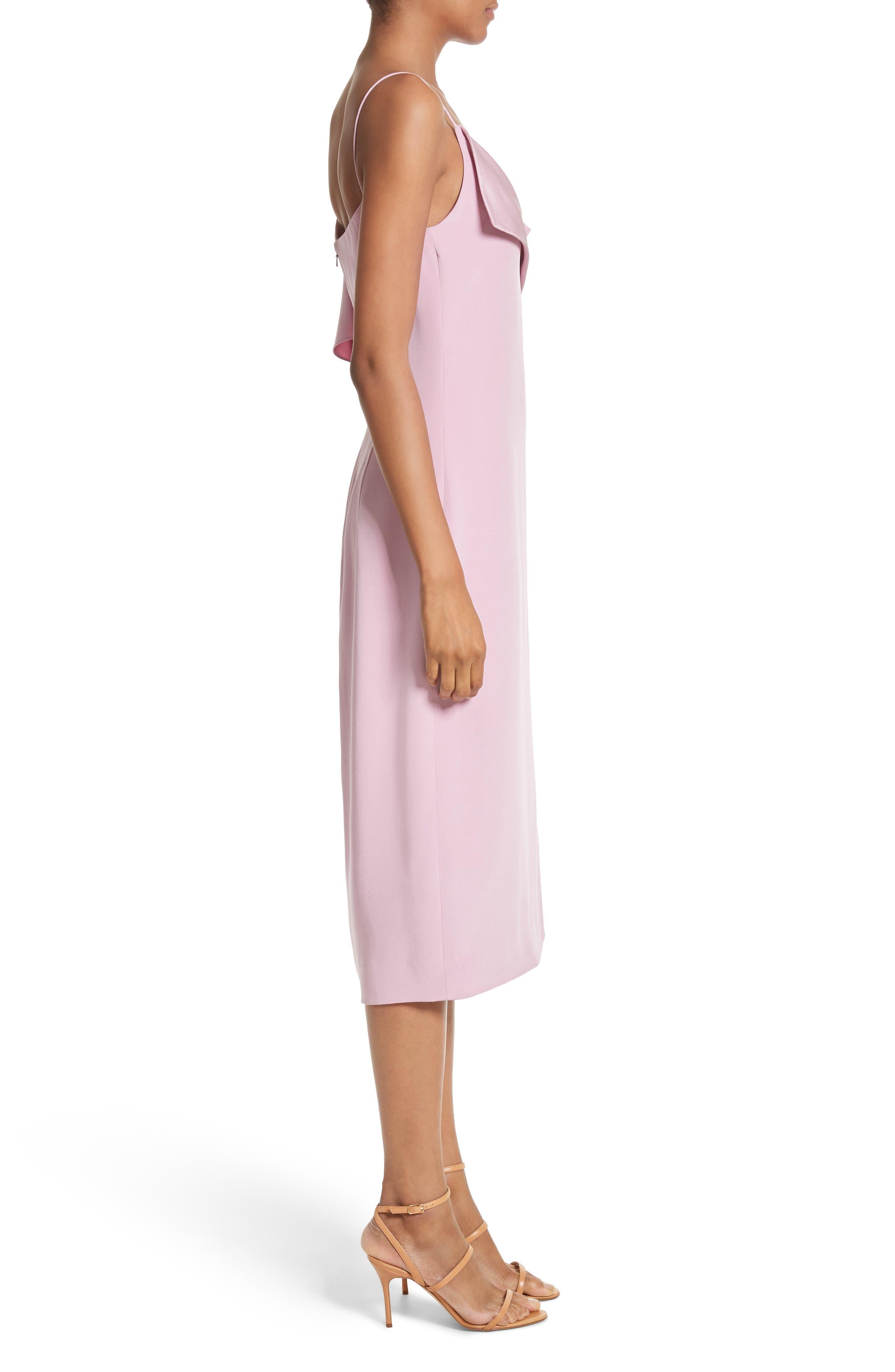 Asymmetrical Ruffle Silk Dress,                             Alternate thumbnail 4, color,                             Quartz