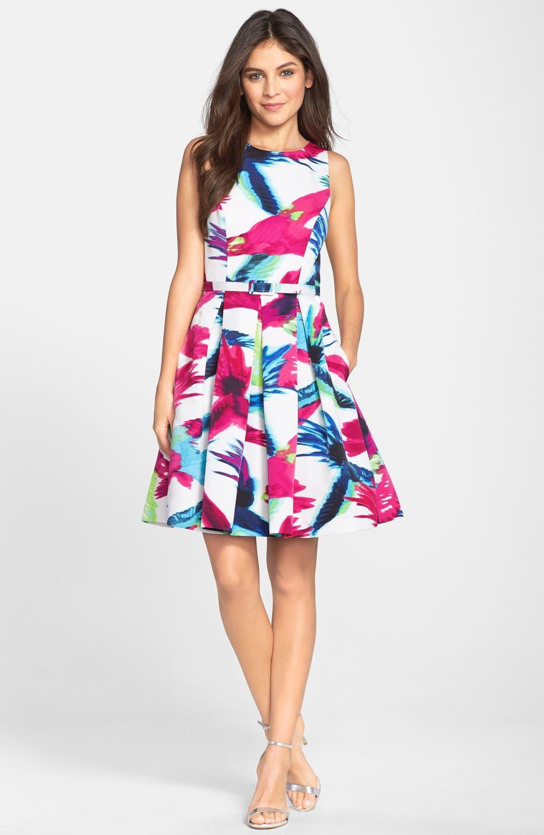 Belted Floral Print Fit & Flare Dress,                             Alternate thumbnail 3, color,                             Print