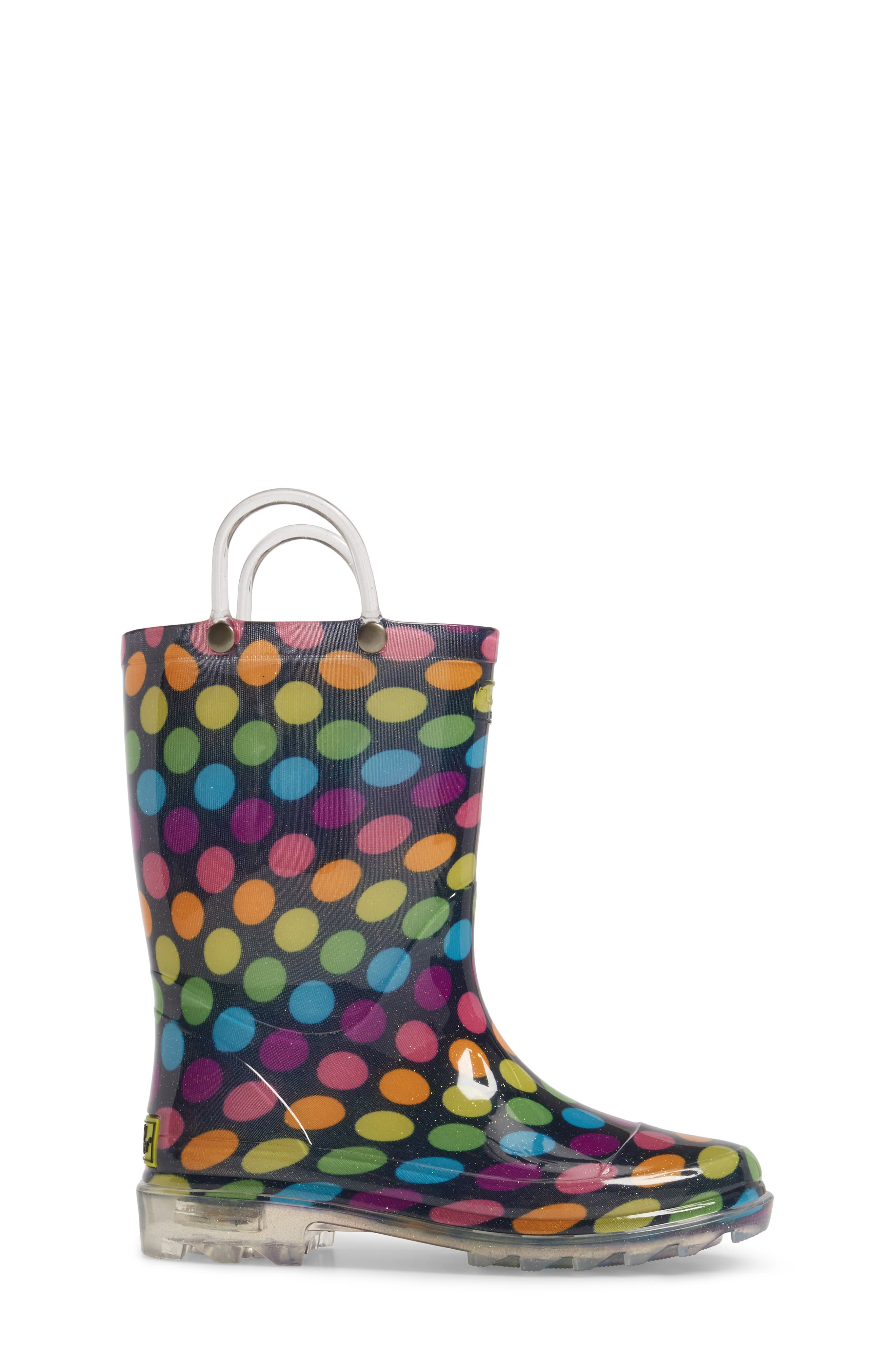Darling Dot Light-Up Rain Boot,                             Alternate thumbnail 3, color,                             Multi