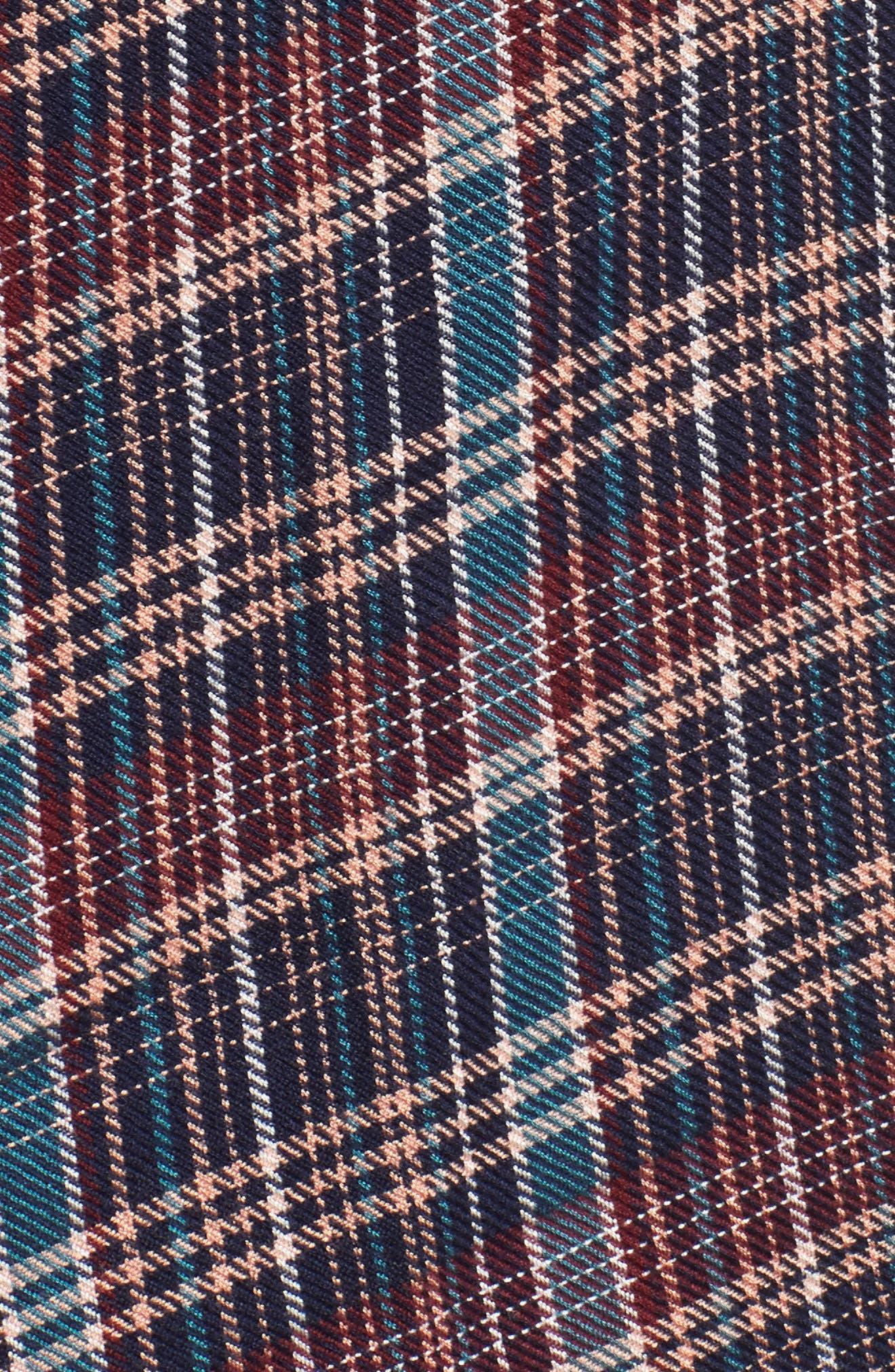 Button Side Detail Tunic Shirt,                             Alternate thumbnail 5, color,                             Navy Karen Plaid