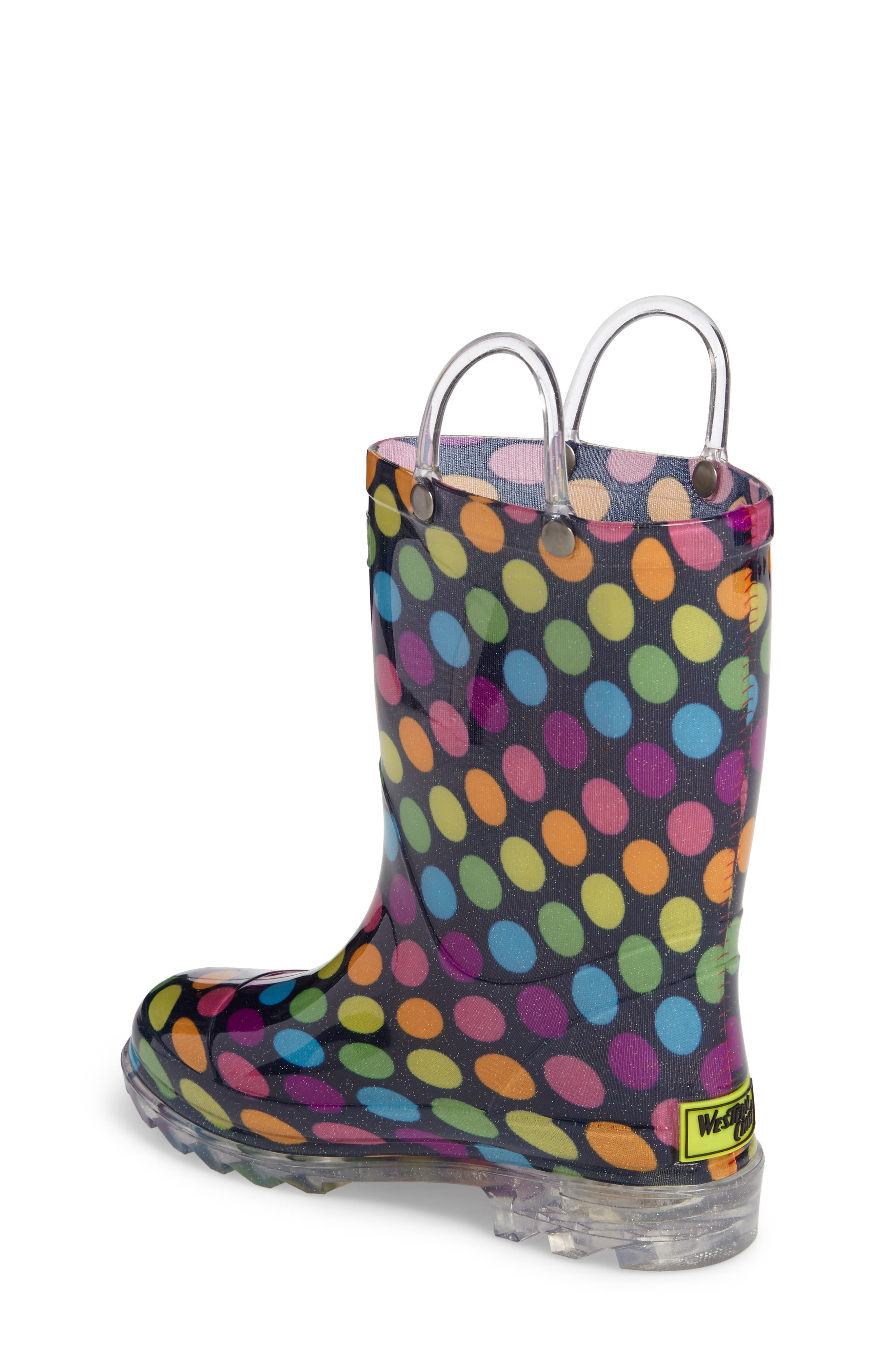 Darling Dot Light-Up Rain Boot,                             Alternate thumbnail 2, color,                             Multi
