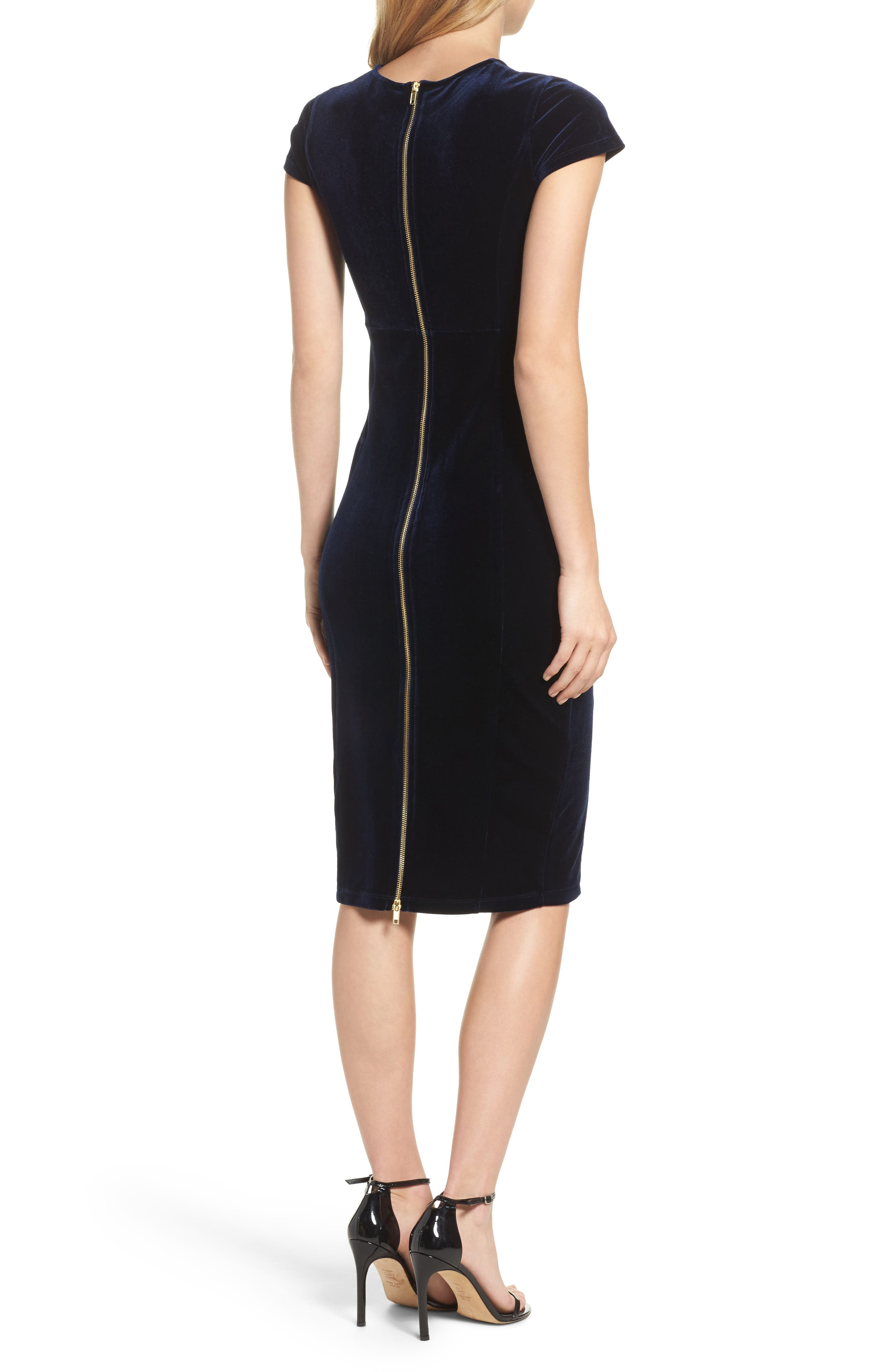 Vista Velvet Midi Dress,                             Alternate thumbnail 2, color,                             Dark Navy