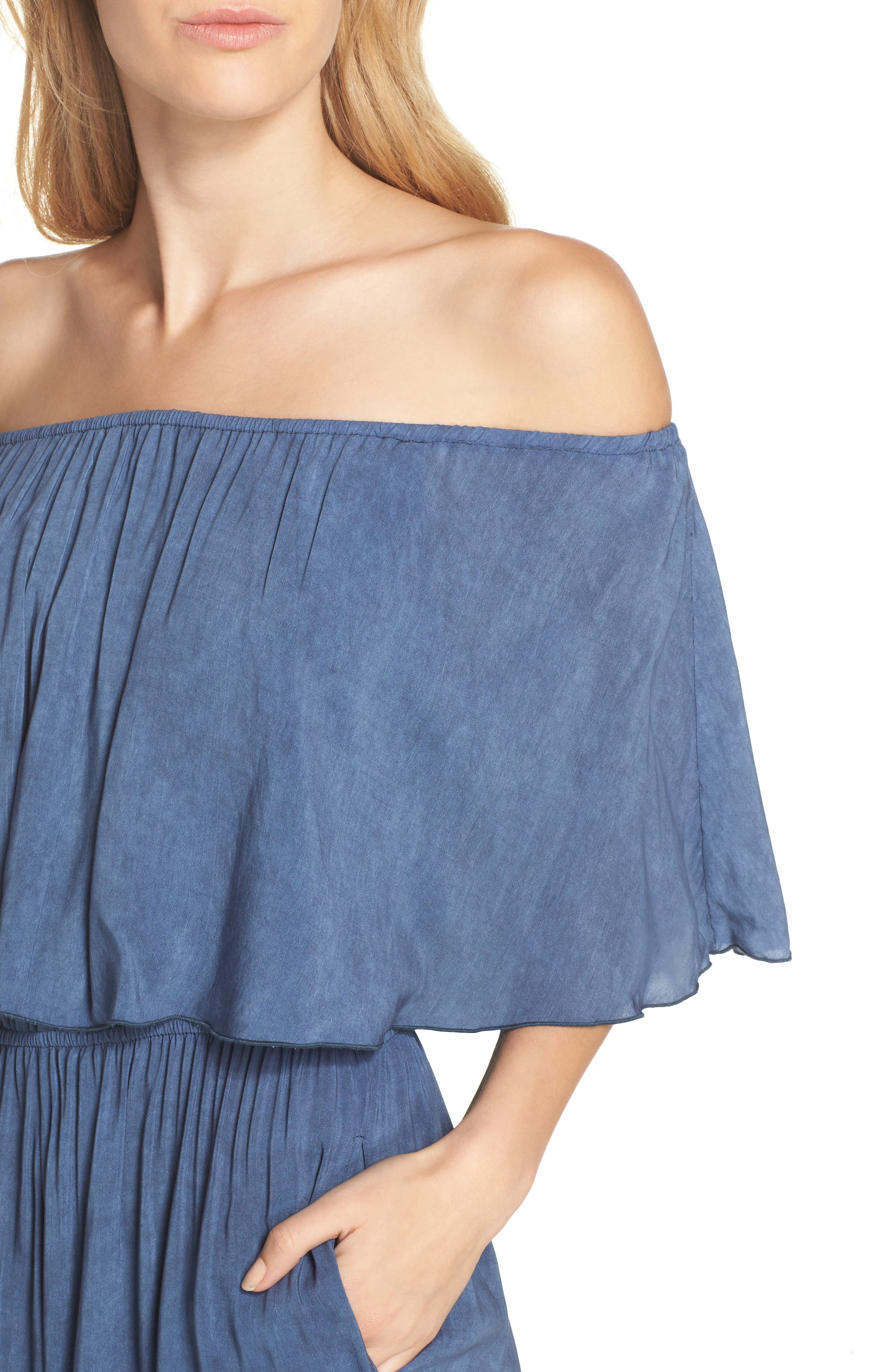 Off the Shoulder Cover-Up Jumpsuit,                             Alternate thumbnail 4, color,                             Indigo