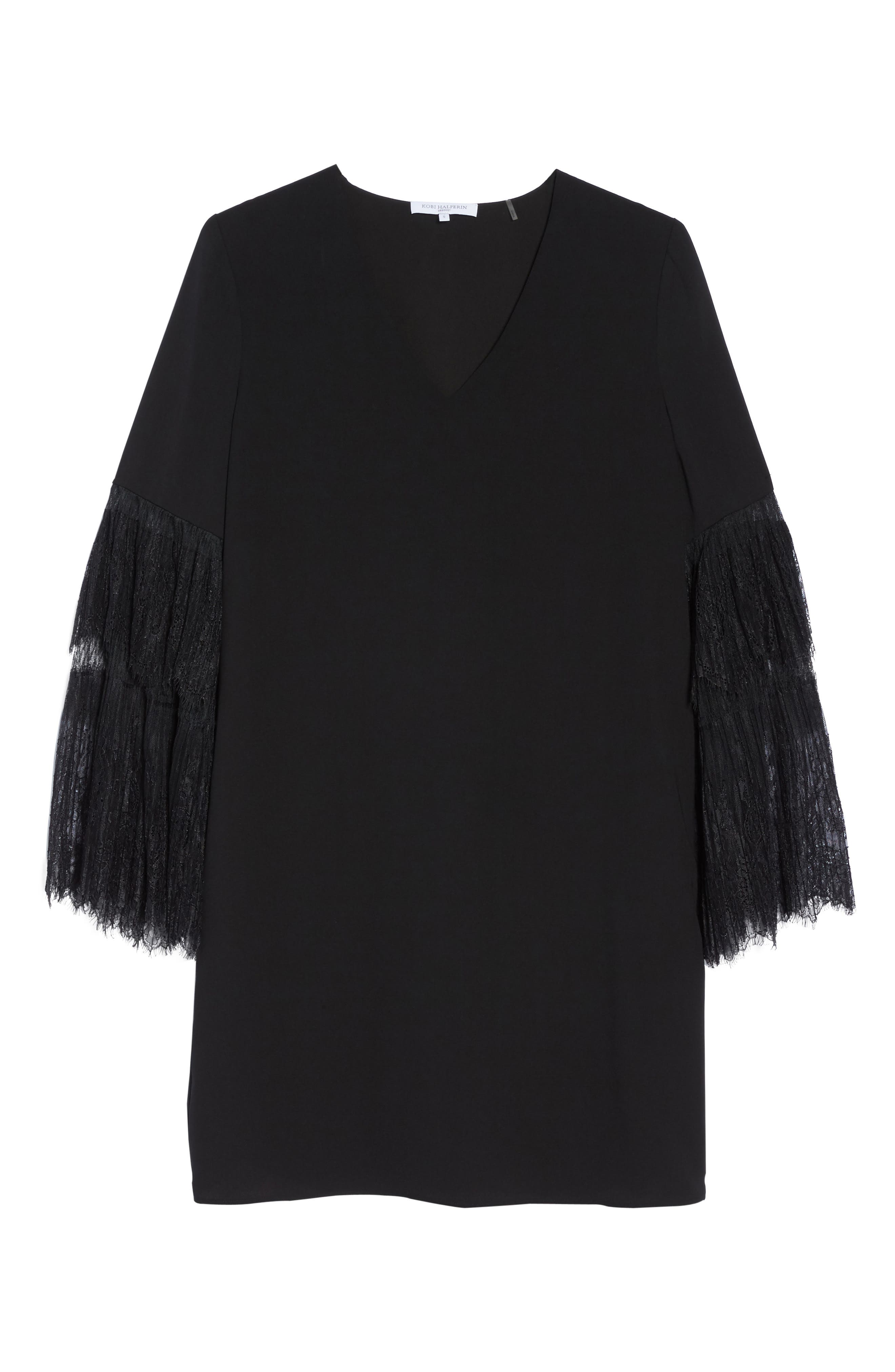 Suki Lace Sleeve Shift Dress,                             Alternate thumbnail 6, color,                             Black