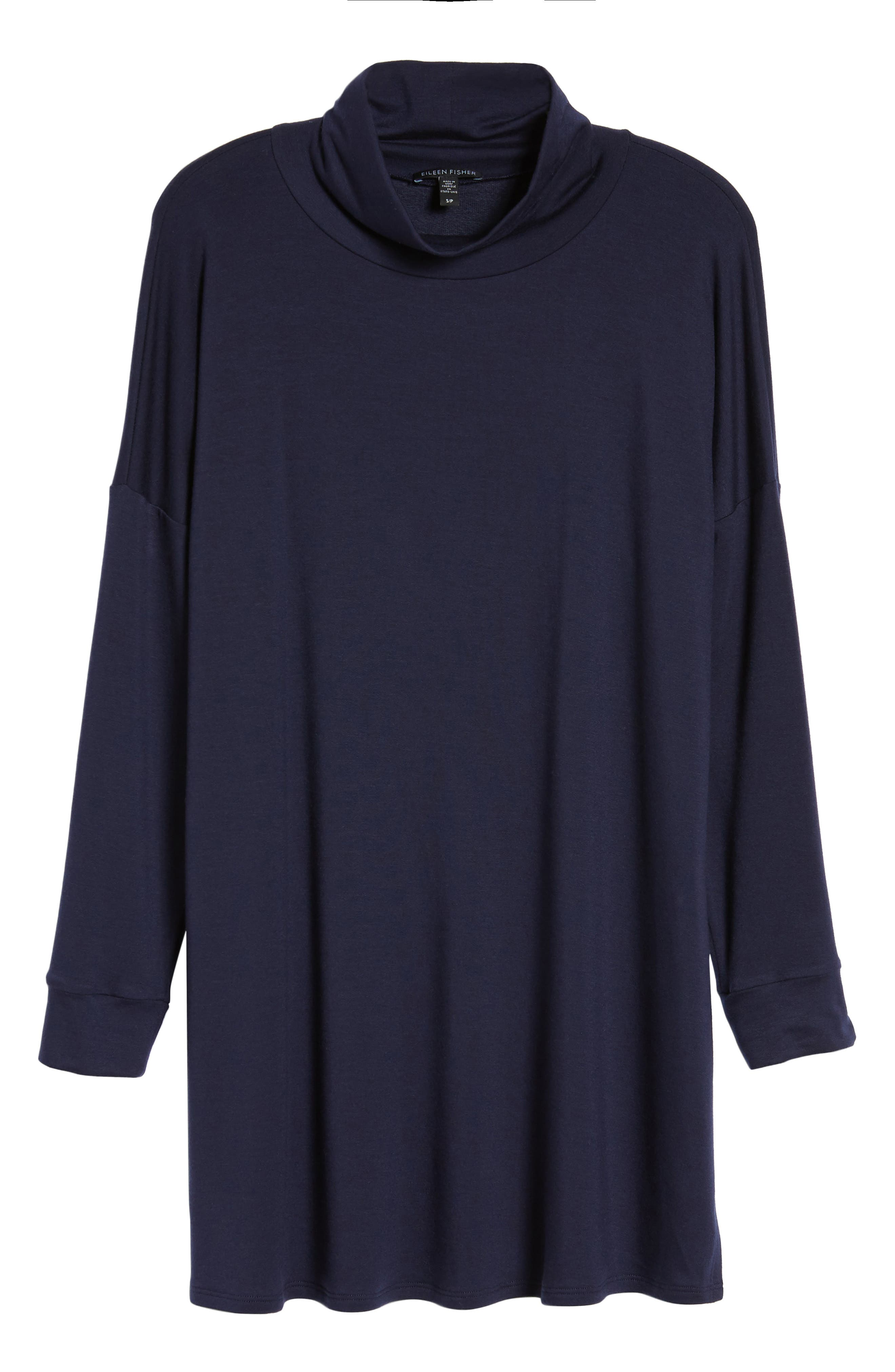 Funnel Neck Knit Tunic,                             Alternate thumbnail 6, color,                             Midnight
