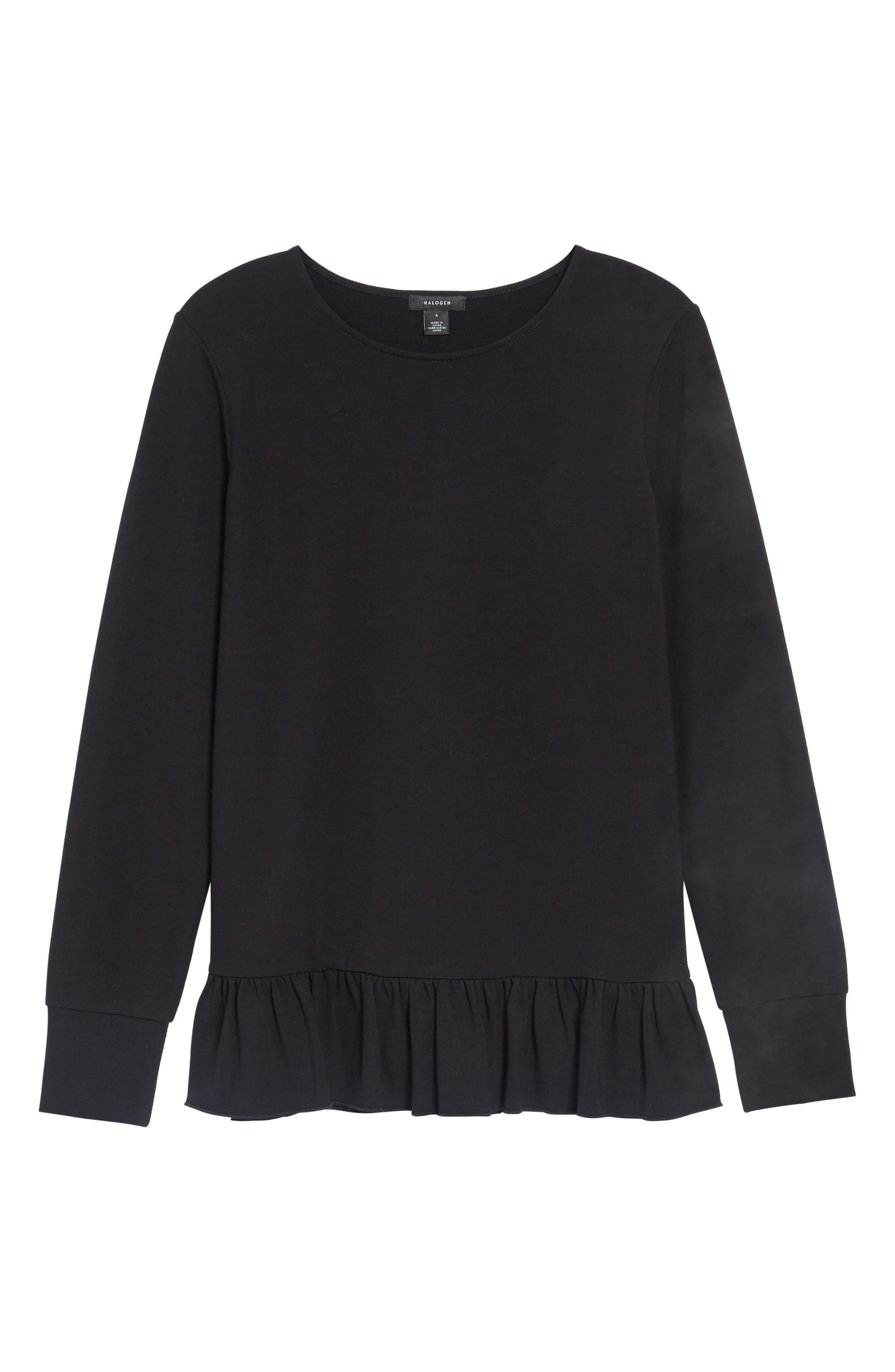 Alternate Image 6  - Halogen® Ruffle Hem Sweatshirt (Regular & Petite)